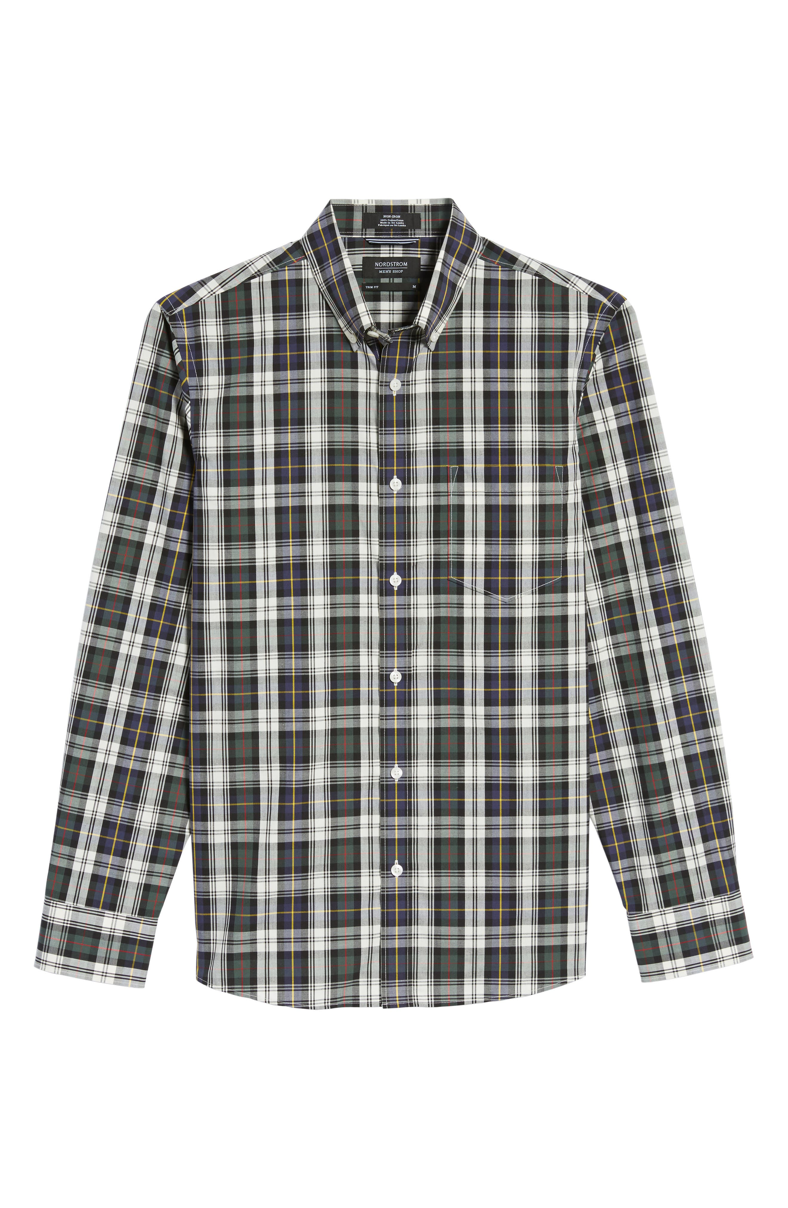 Trim Fit Non-Iron Plaid Sport Shirt,                             Alternate thumbnail 6, color,
