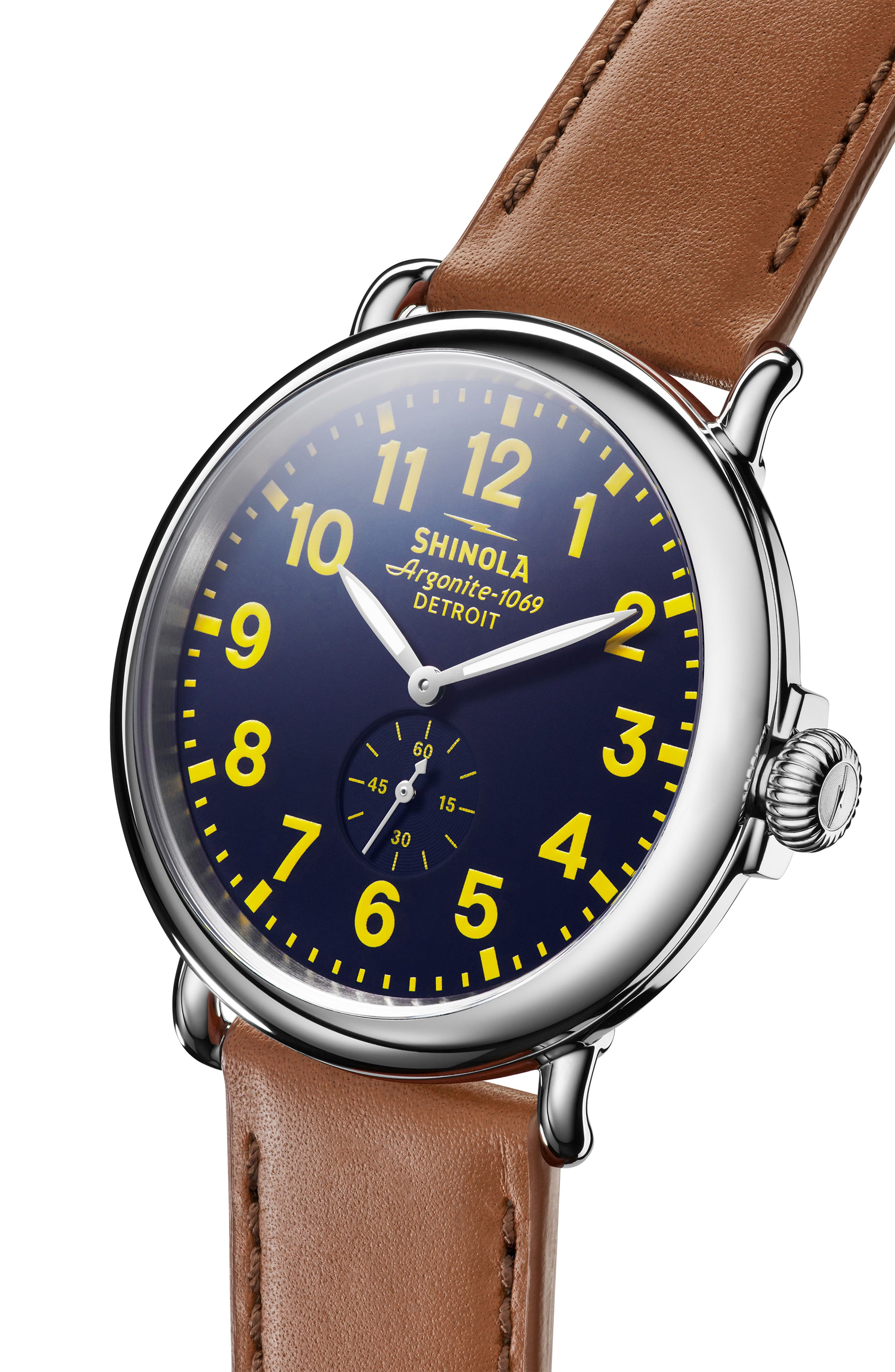 'The Runwell' Leather Strap Watch, 47mm,                             Alternate thumbnail 5, color,                             TAN/ COLLEGIATE BLUE/ SILVER