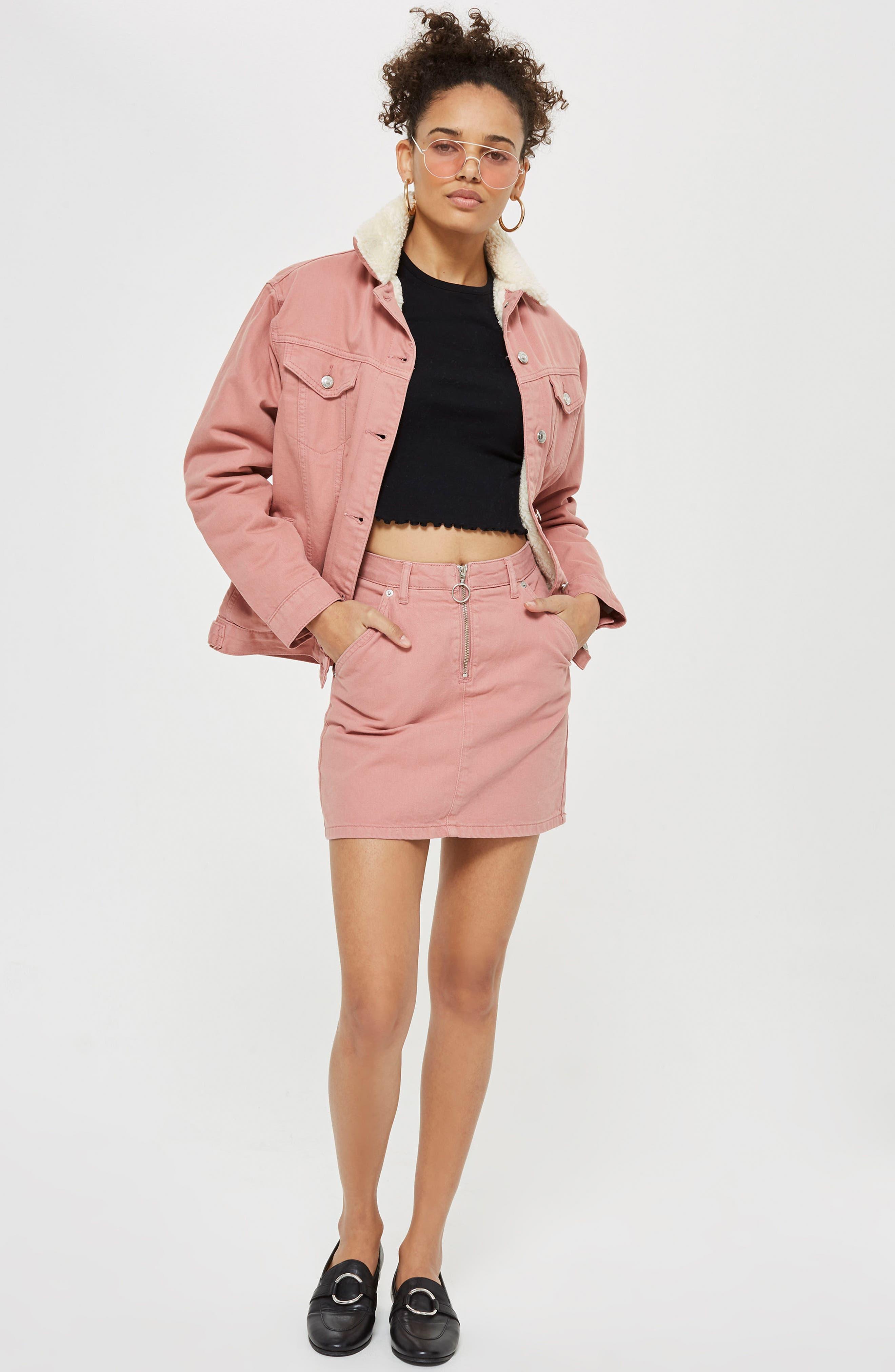 Half Zip Denim Skirt,                             Alternate thumbnail 4, color,                             650