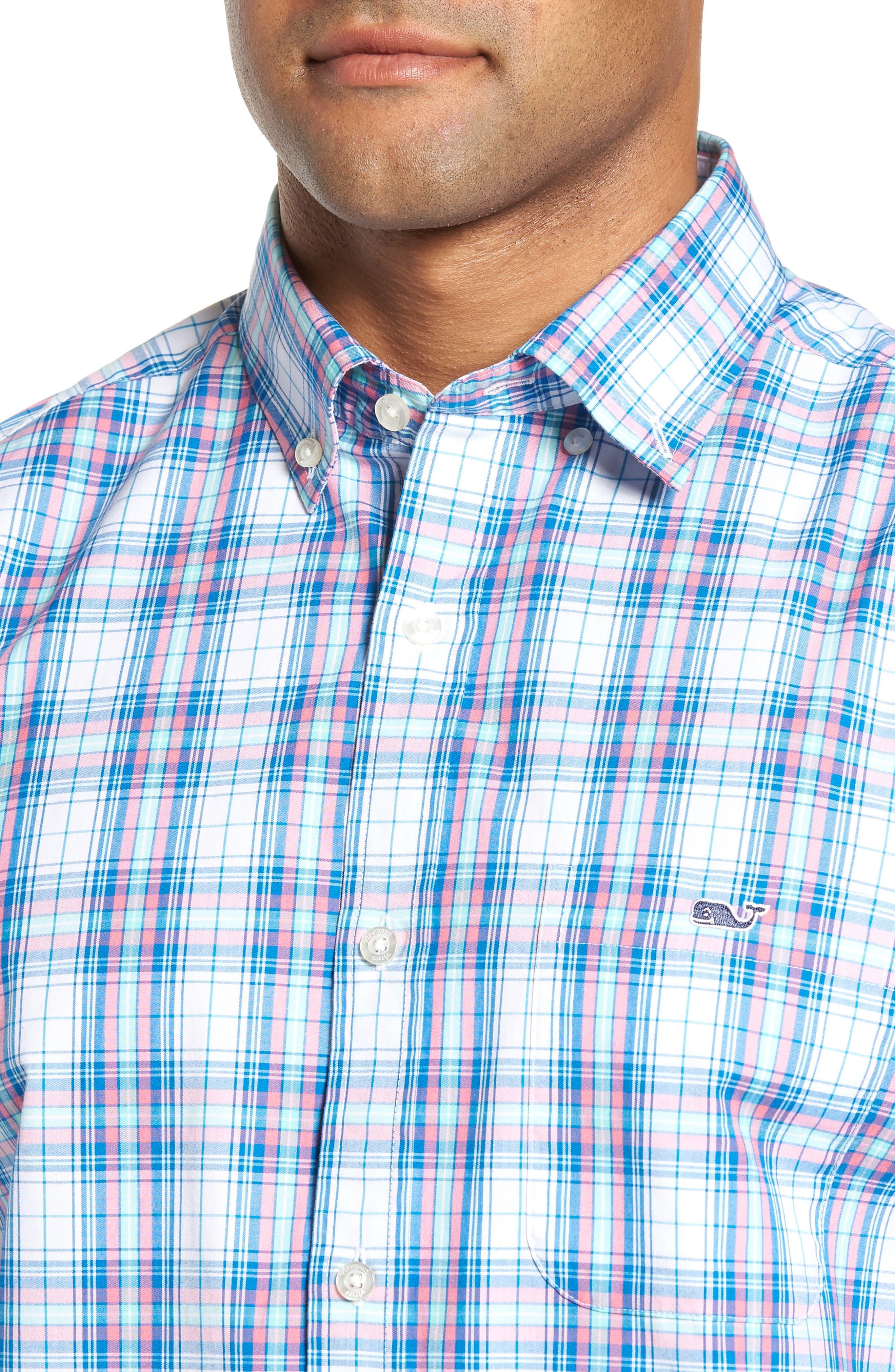 Tucker Sunset Pines Classic Fit Plaid Sport Shirt,                             Alternate thumbnail 4, color,                             650