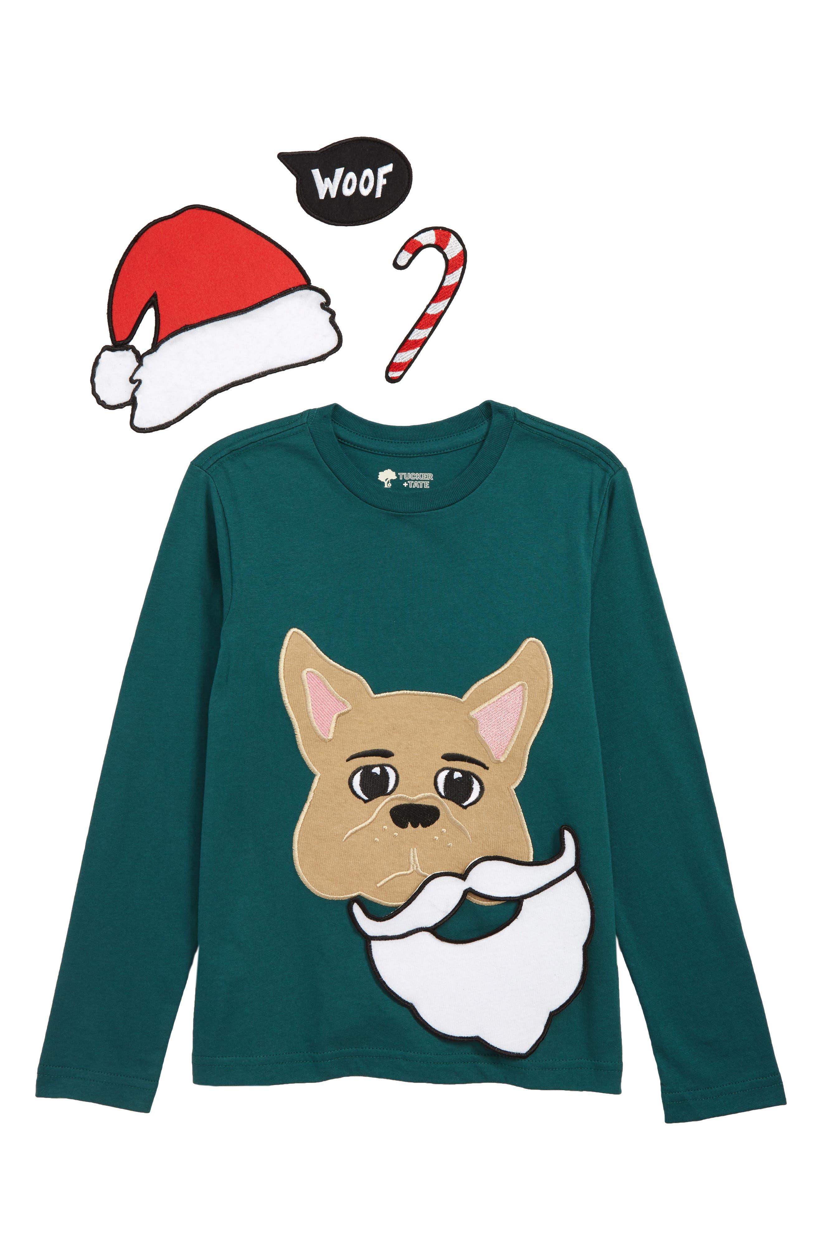 Graphic Stick On T-Shirt,                             Alternate thumbnail 2, color,                             GREEN BUG SANTA PUP