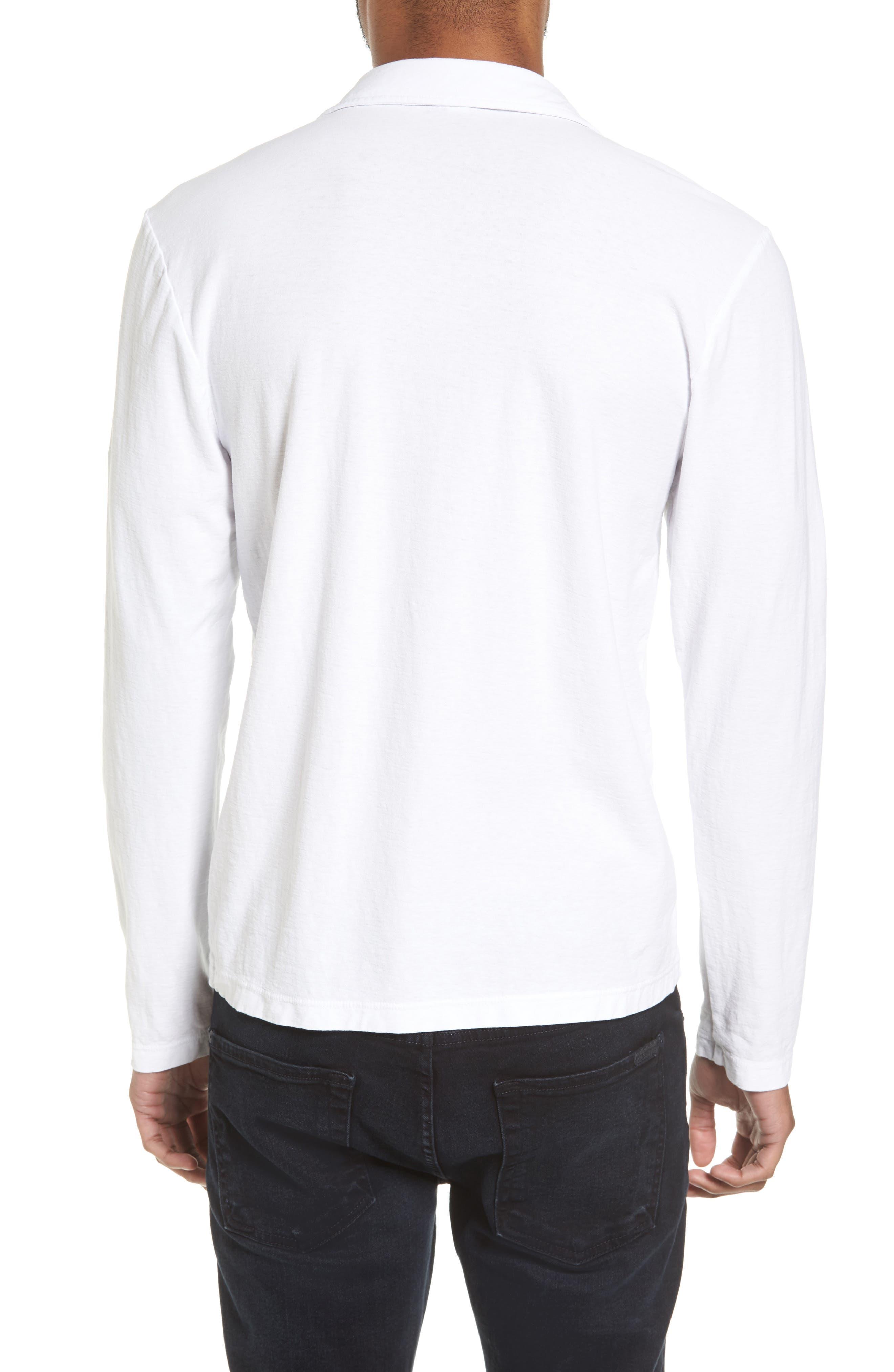Long Sleeve Cotton Polo,                             Alternate thumbnail 2, color,                             100