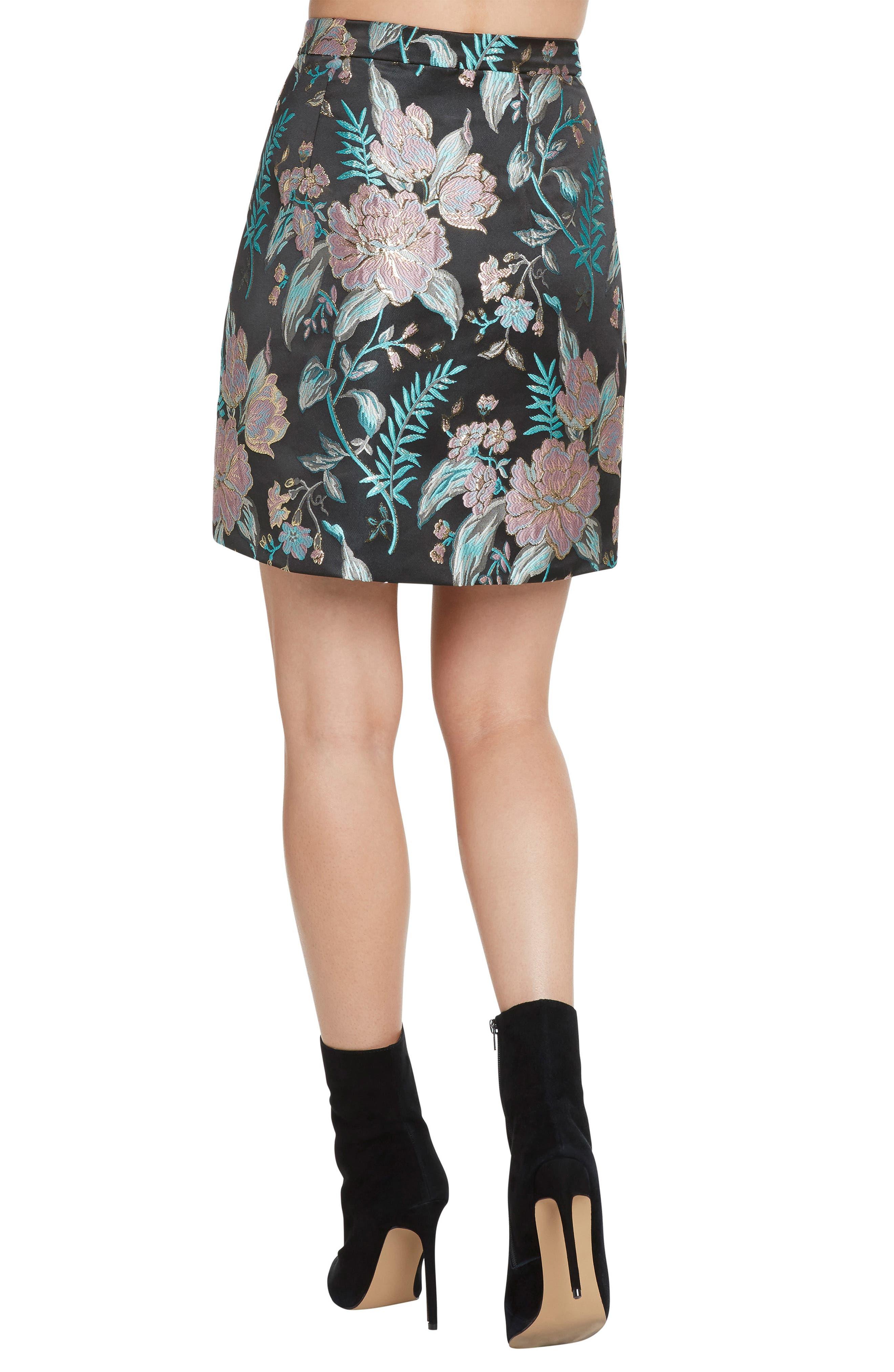 Floral Jacquard Skirt,                             Alternate thumbnail 2, color,                             BLACK