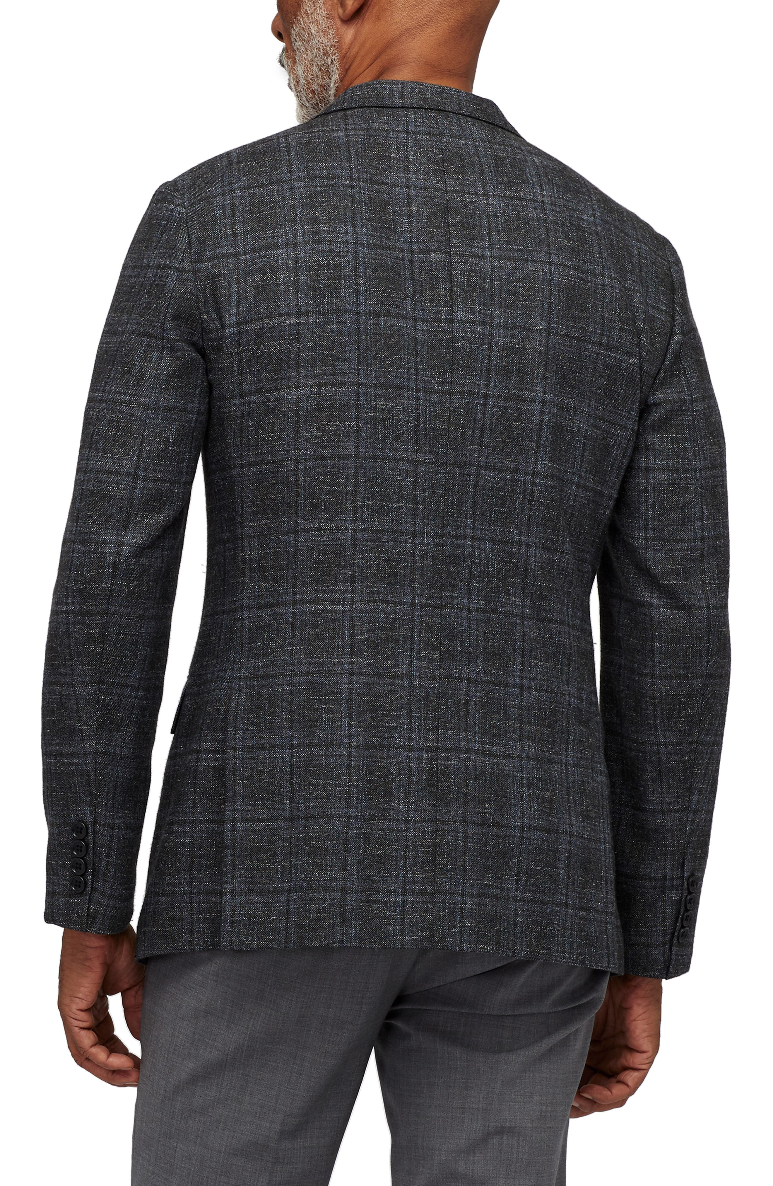 Slim Fit Unconstructed Plaid Blazer,                             Alternate thumbnail 2, color,                             OLIVE AND GREY