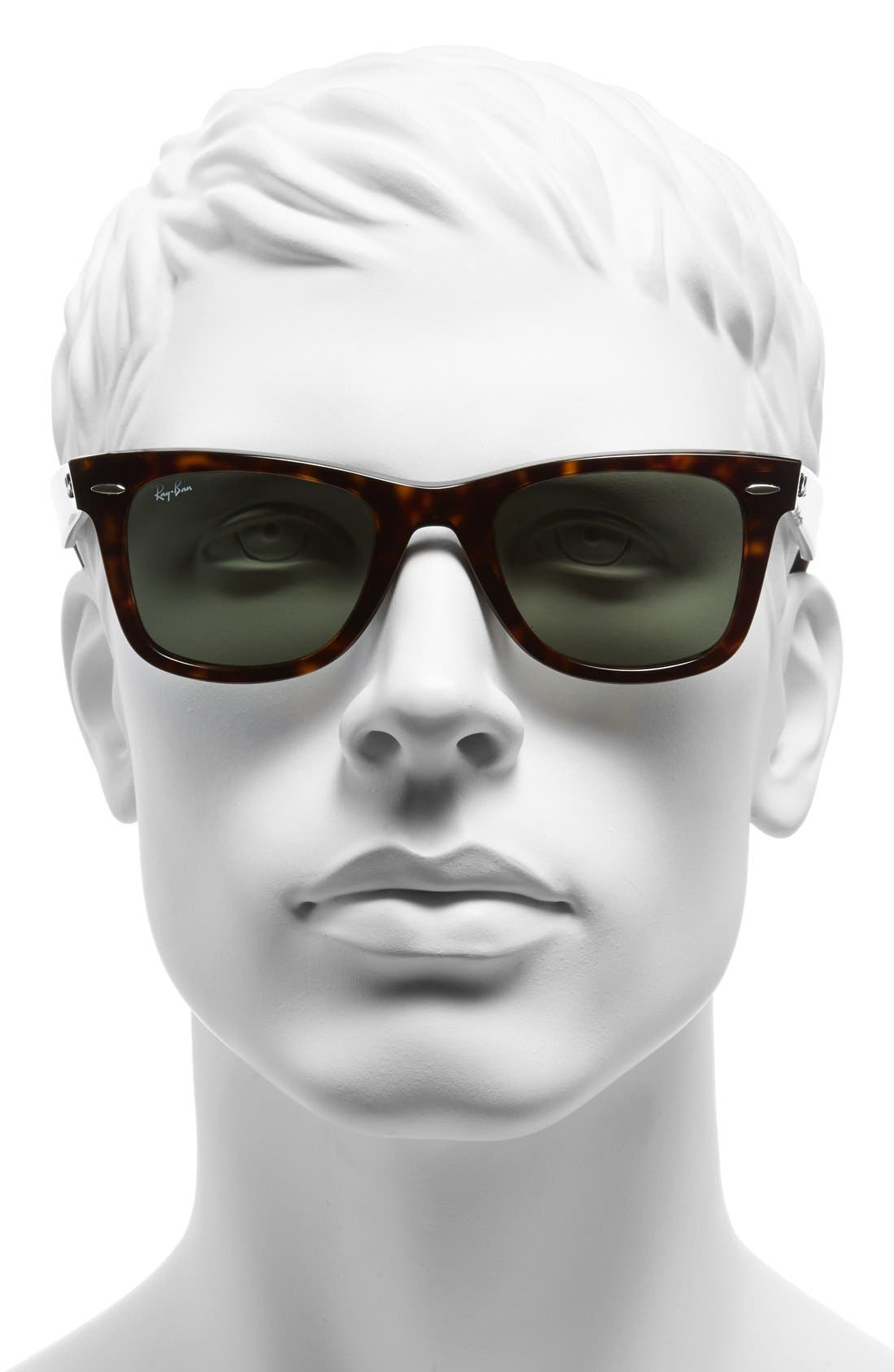 'Classic Wayfarer' 50mm Sunglasses,                             Alternate thumbnail 5, color,                             DARK TORTOISE/ GREEN