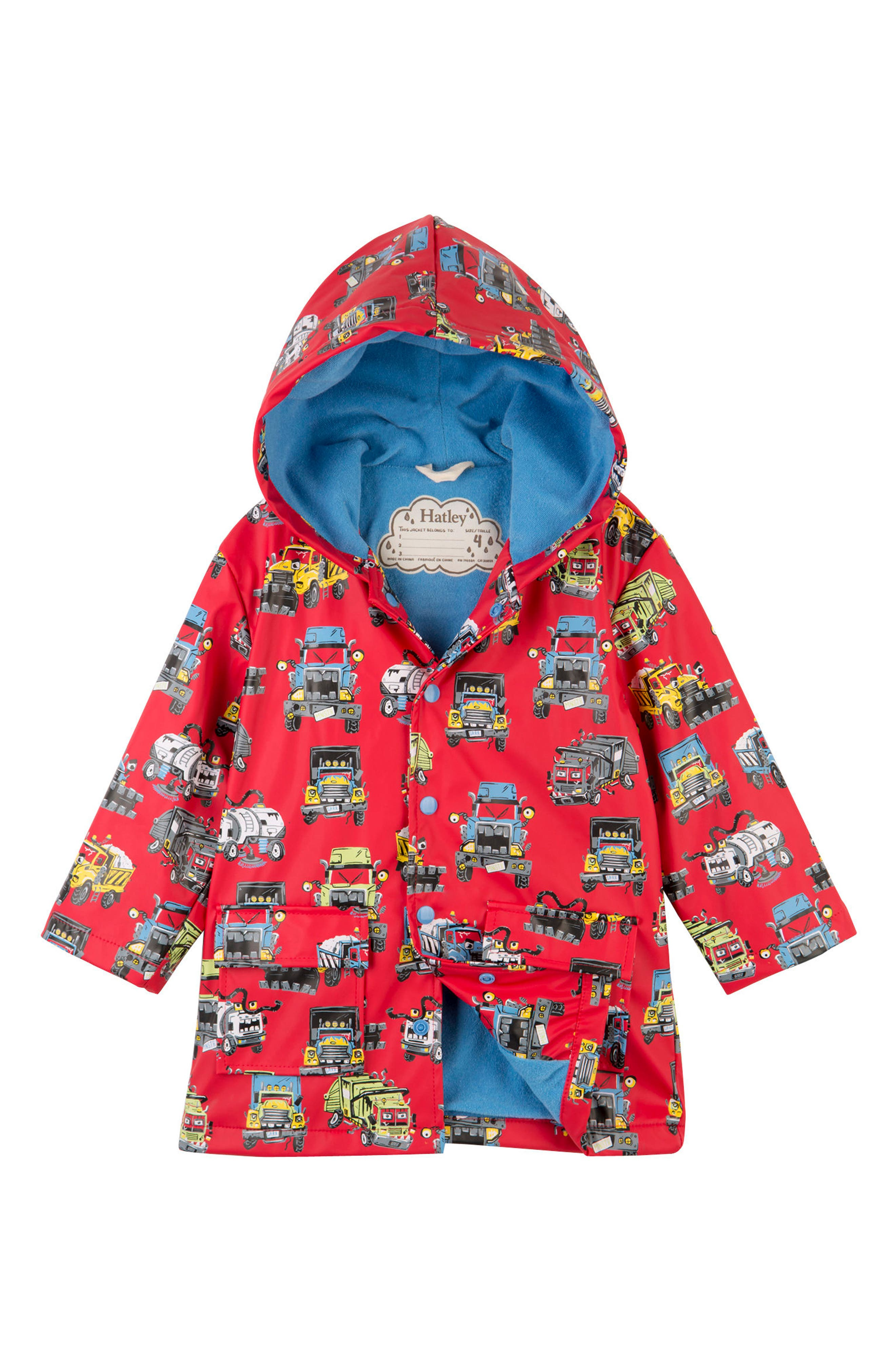 Monster Trucks Hooded Waterproof Raincoat, Main, color, RED