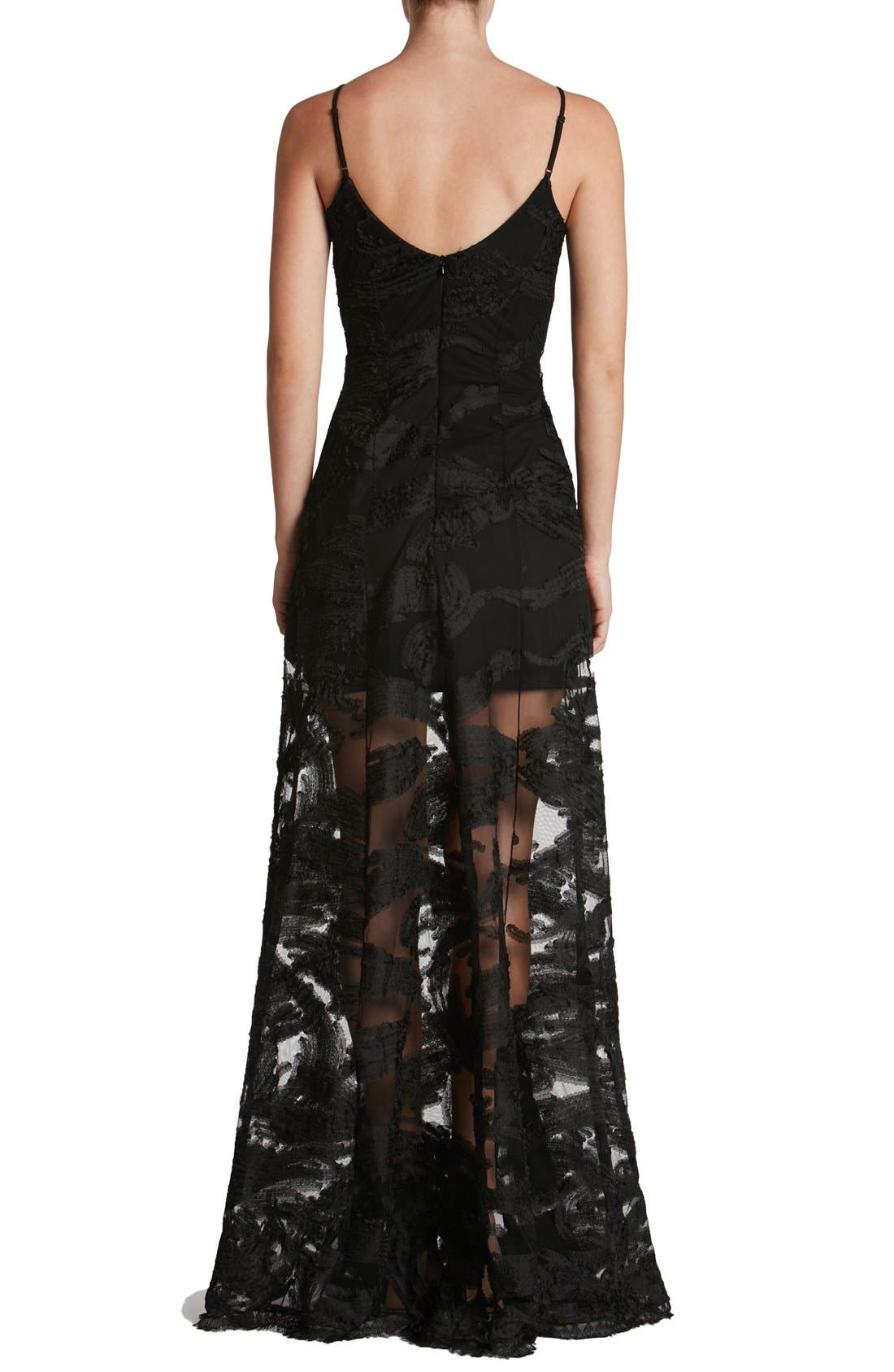 'Florence' Woven Fit & Flare Gown,                             Alternate thumbnail 3, color,                             001