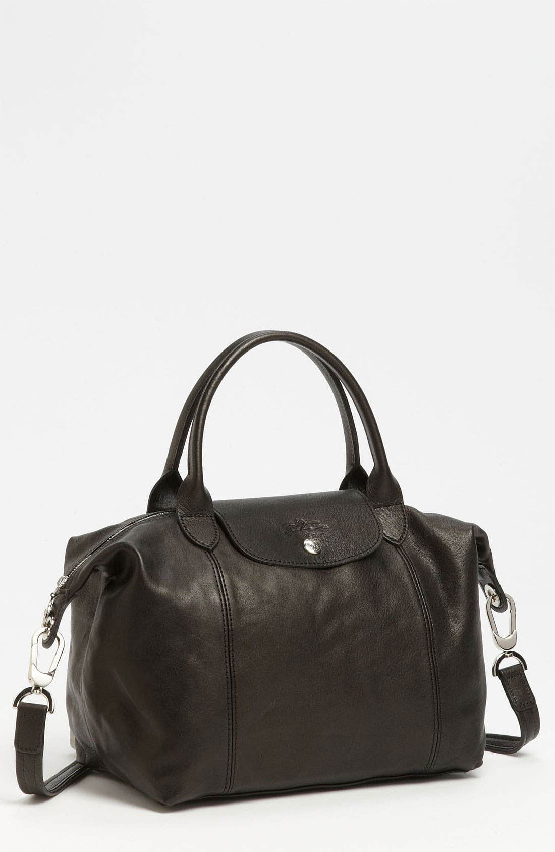 Small 'Le Pliage Cuir' Leather Top Handle Tote,                         Main,                         color,