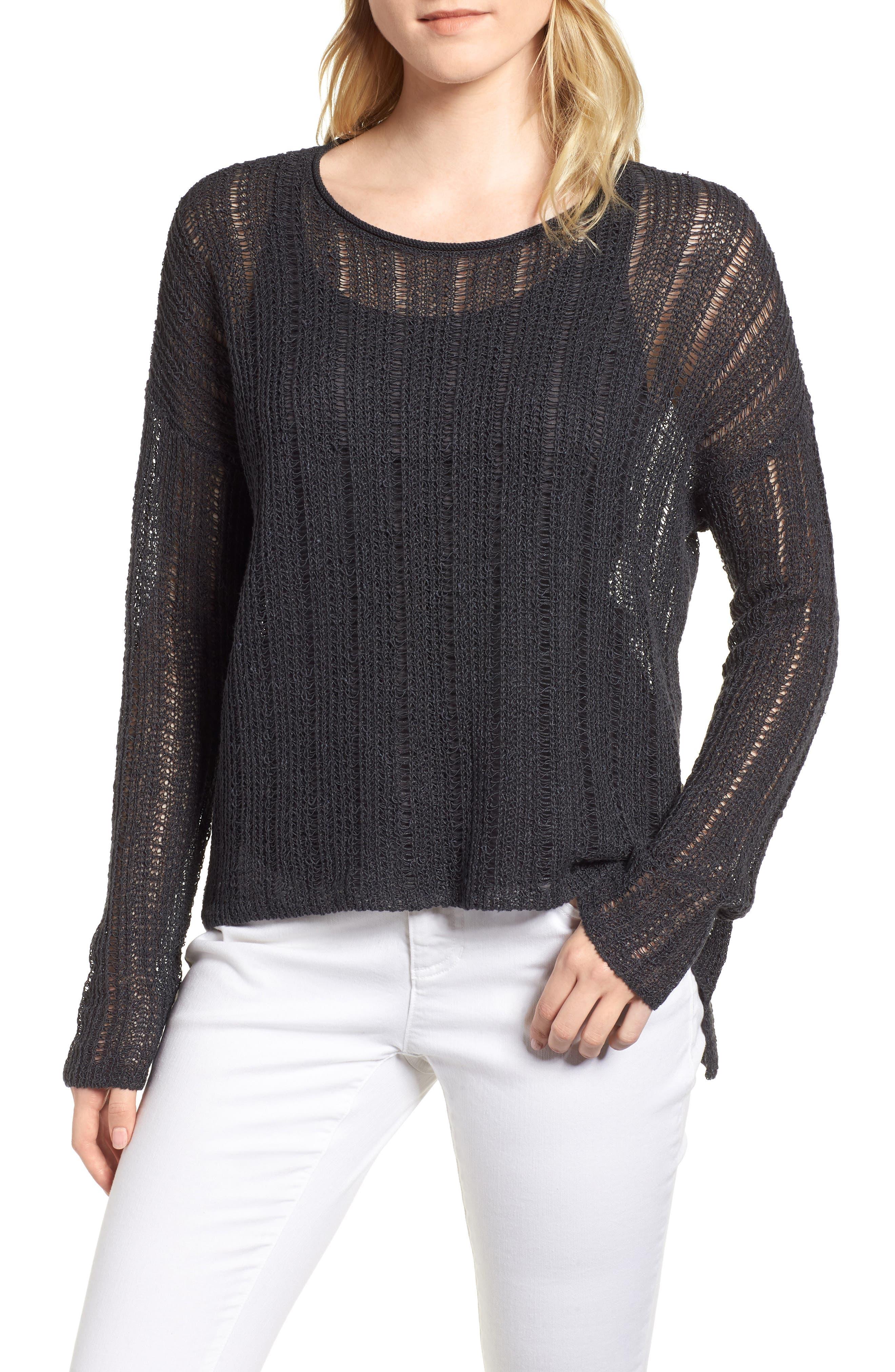 Open Knit Organic Linen Blend Sweater,                         Main,                         color, 025