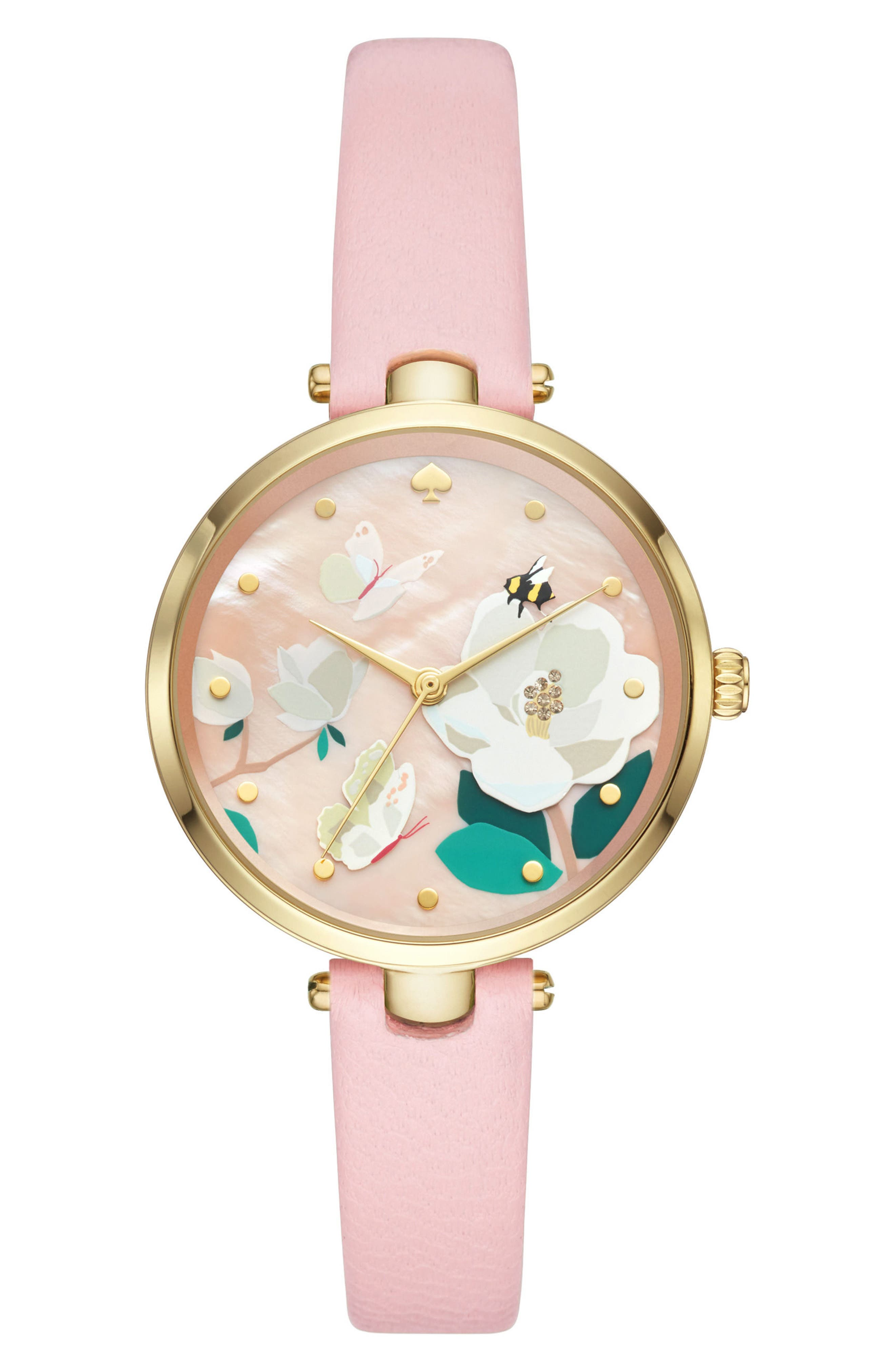 holland leather strap watch, 34mm,                         Main,                         color, PINK/ FLORAL/ GOLD