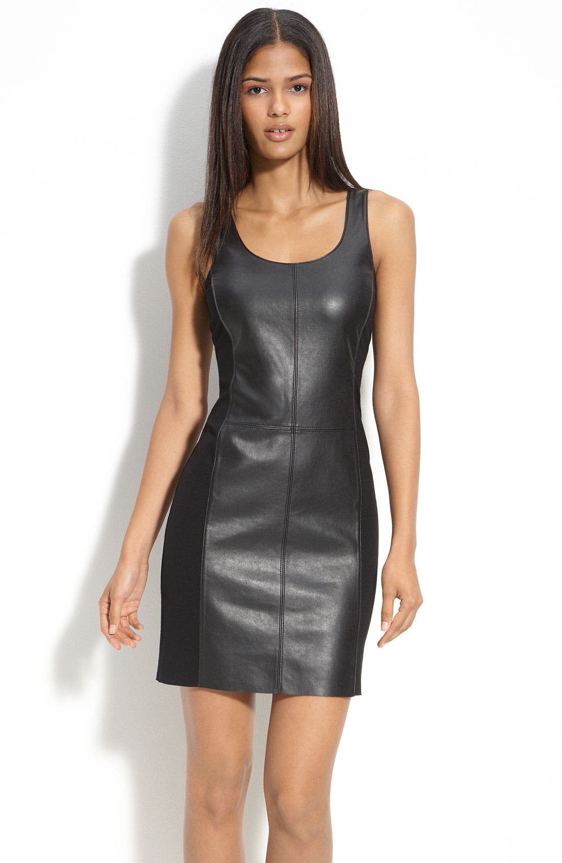 Faux Leather & Knit Dress,                             Main thumbnail 1, color,                             001