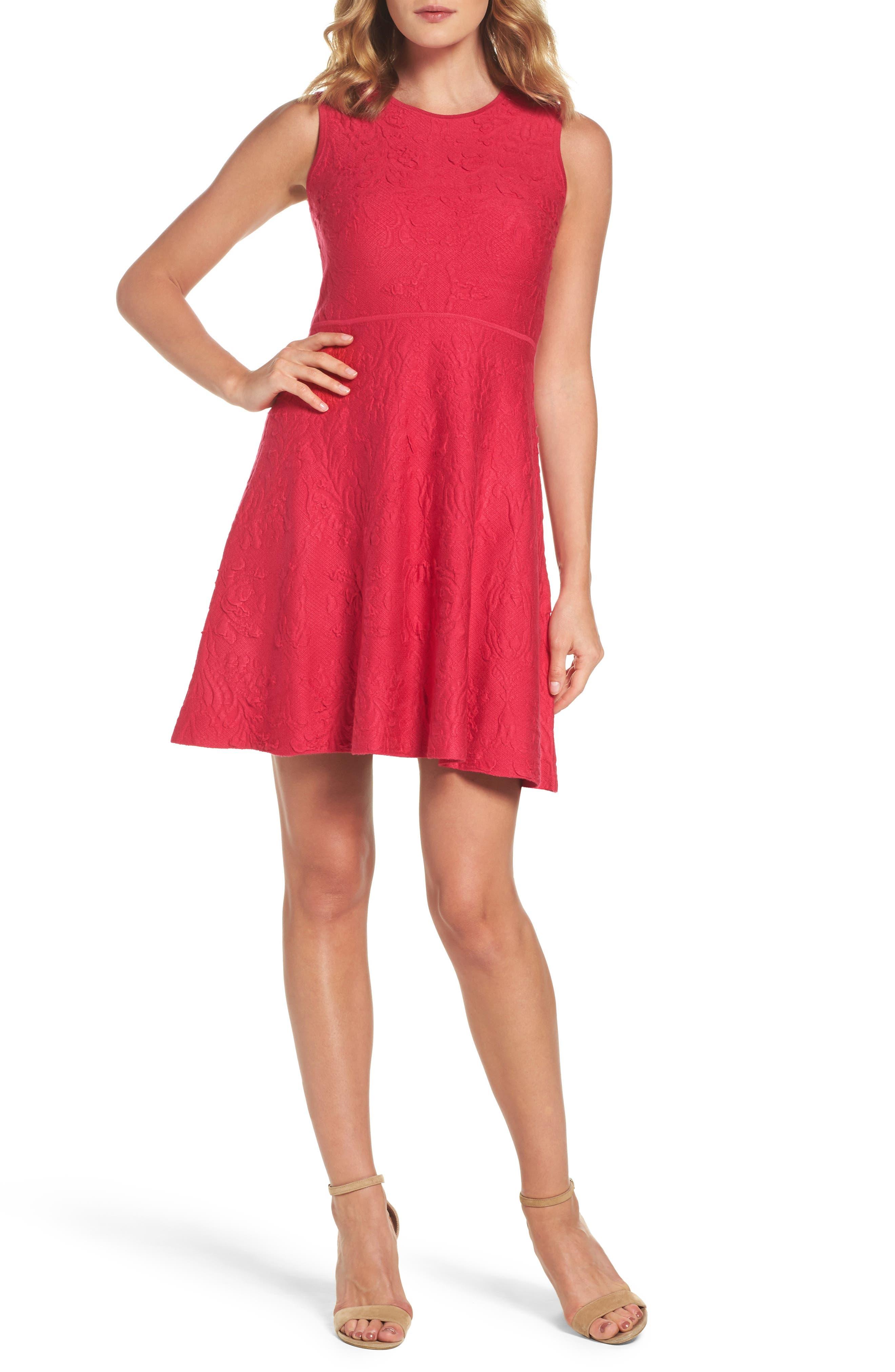 Texture Knit Fit & Flare Dress,                             Alternate thumbnail 5, color,                             660