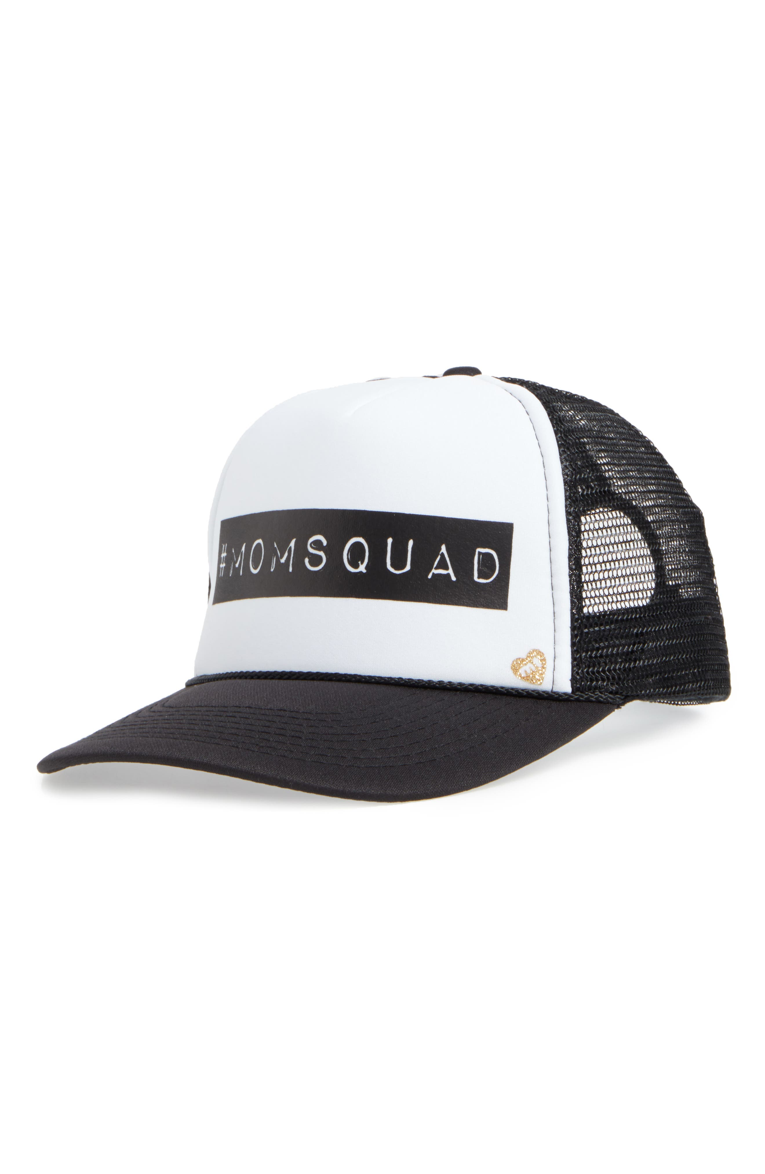 MOTHER TRUCKER & CO.,                             Mother Trucker Hats Mom Squad Trucker Hat,                             Main thumbnail 1, color,                             001
