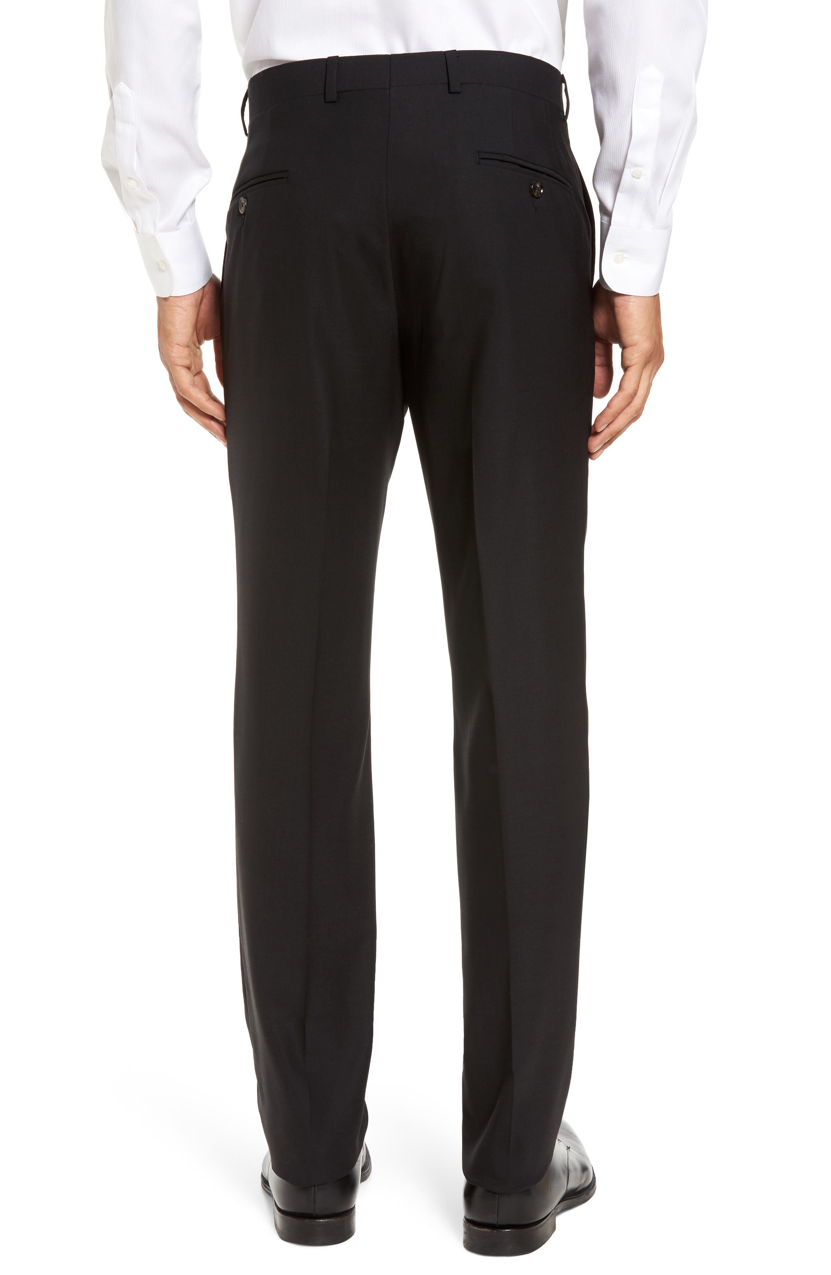 TED BAKER LONDON,                             Jefferson Flat Front Solid Wool Trousers,                             Alternate thumbnail 3, color,                             BLACK