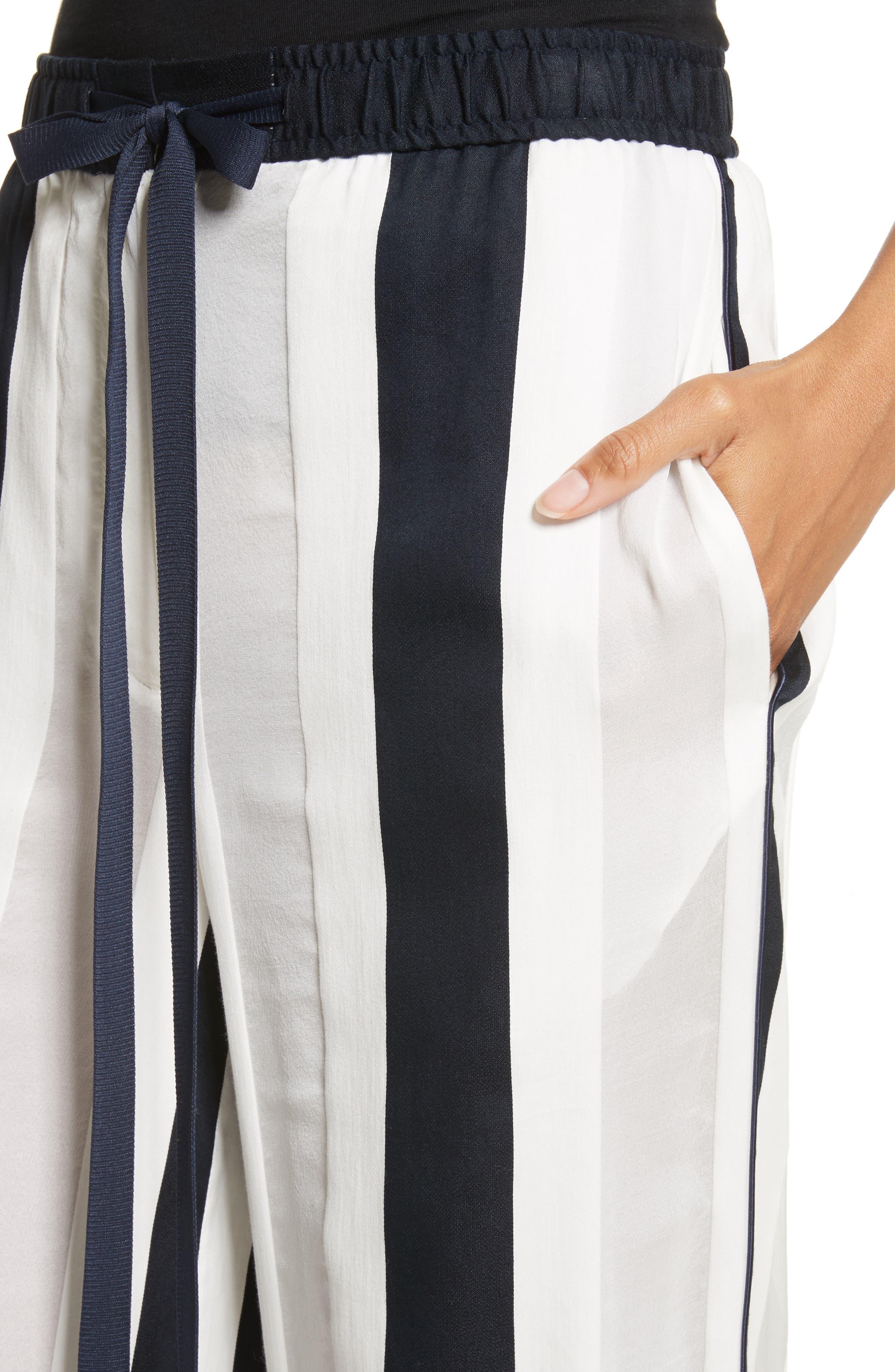 Cotton & Silk Stripe Jacquard Wide Leg Pants,                             Alternate thumbnail 4, color,