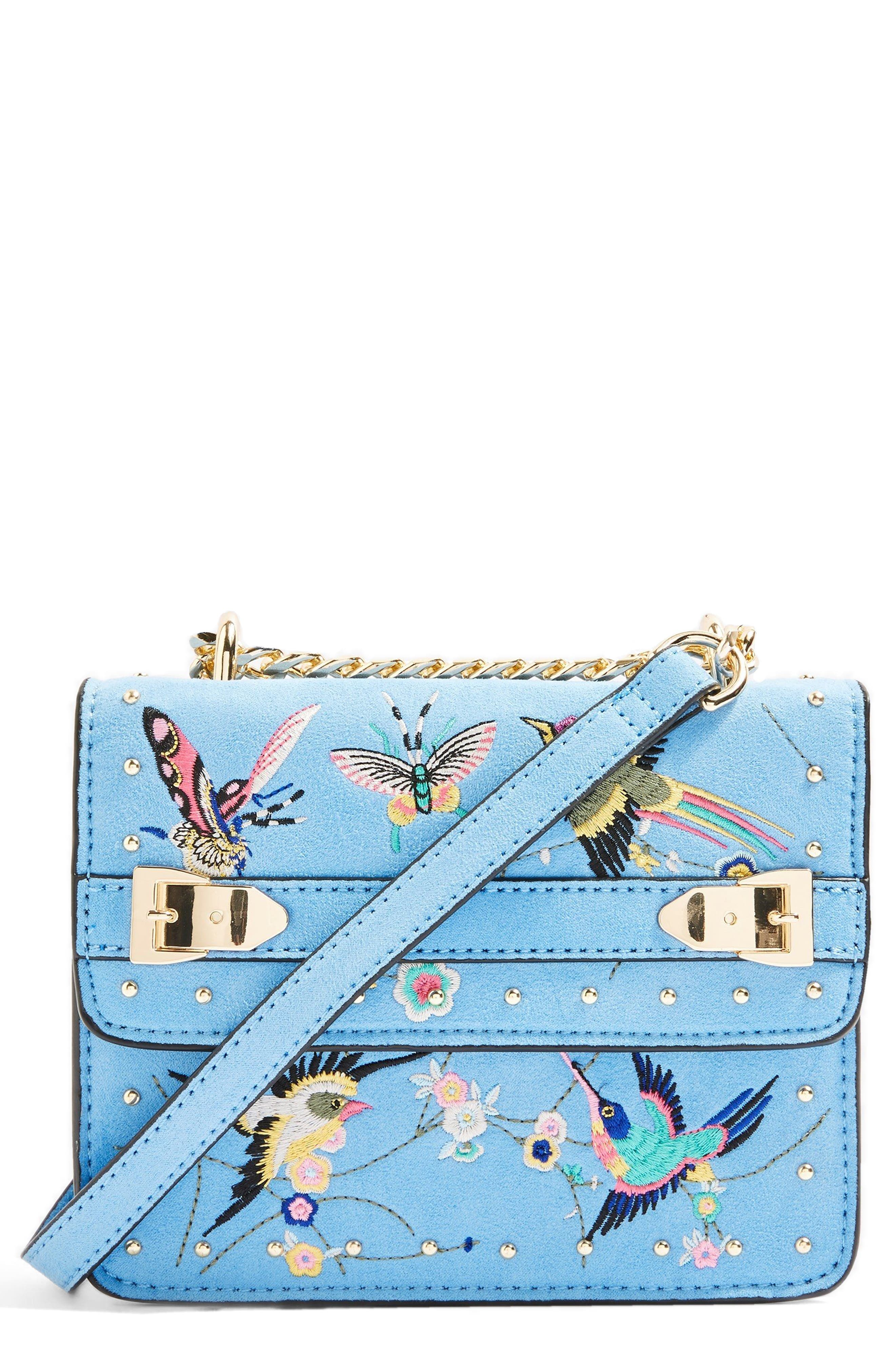 Polly Bird Embroidered Crossbody Bag,                             Main thumbnail 1, color,                             BLUE MULTI