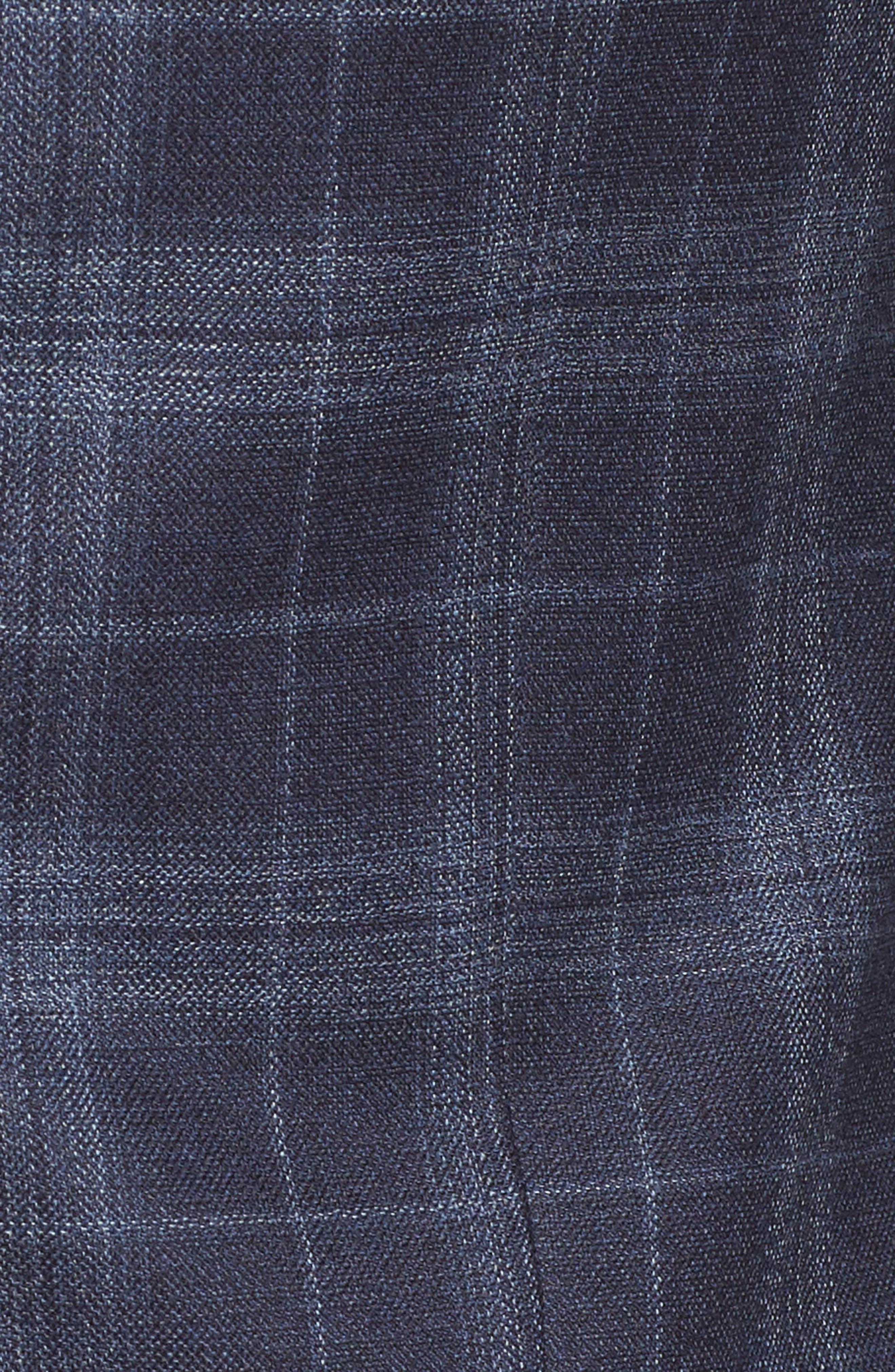 Classic Fit Plaid Wool & Silk Sport Coat,                             Alternate thumbnail 6, color,                             NAVY