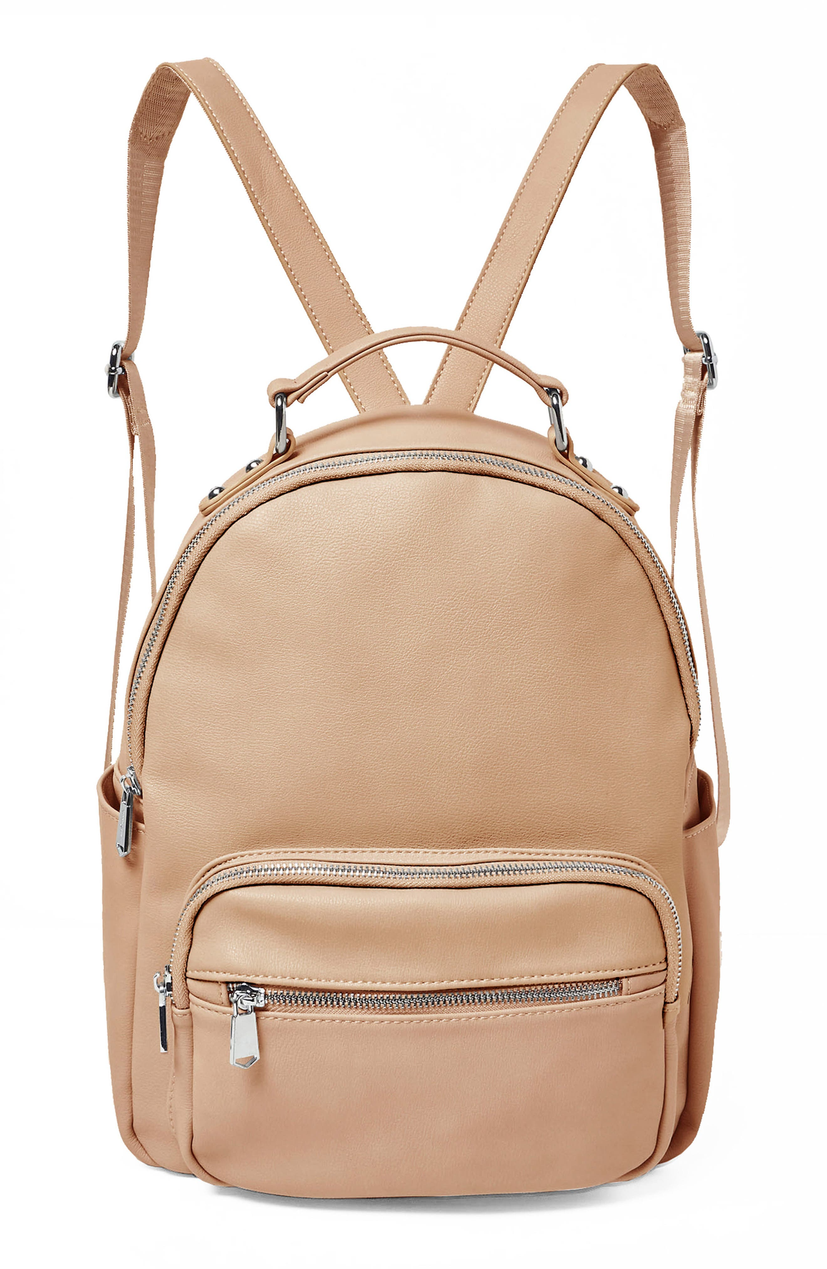 On My Own Vegan Leather Backpack,                             Main thumbnail 1, color,                             NUDE