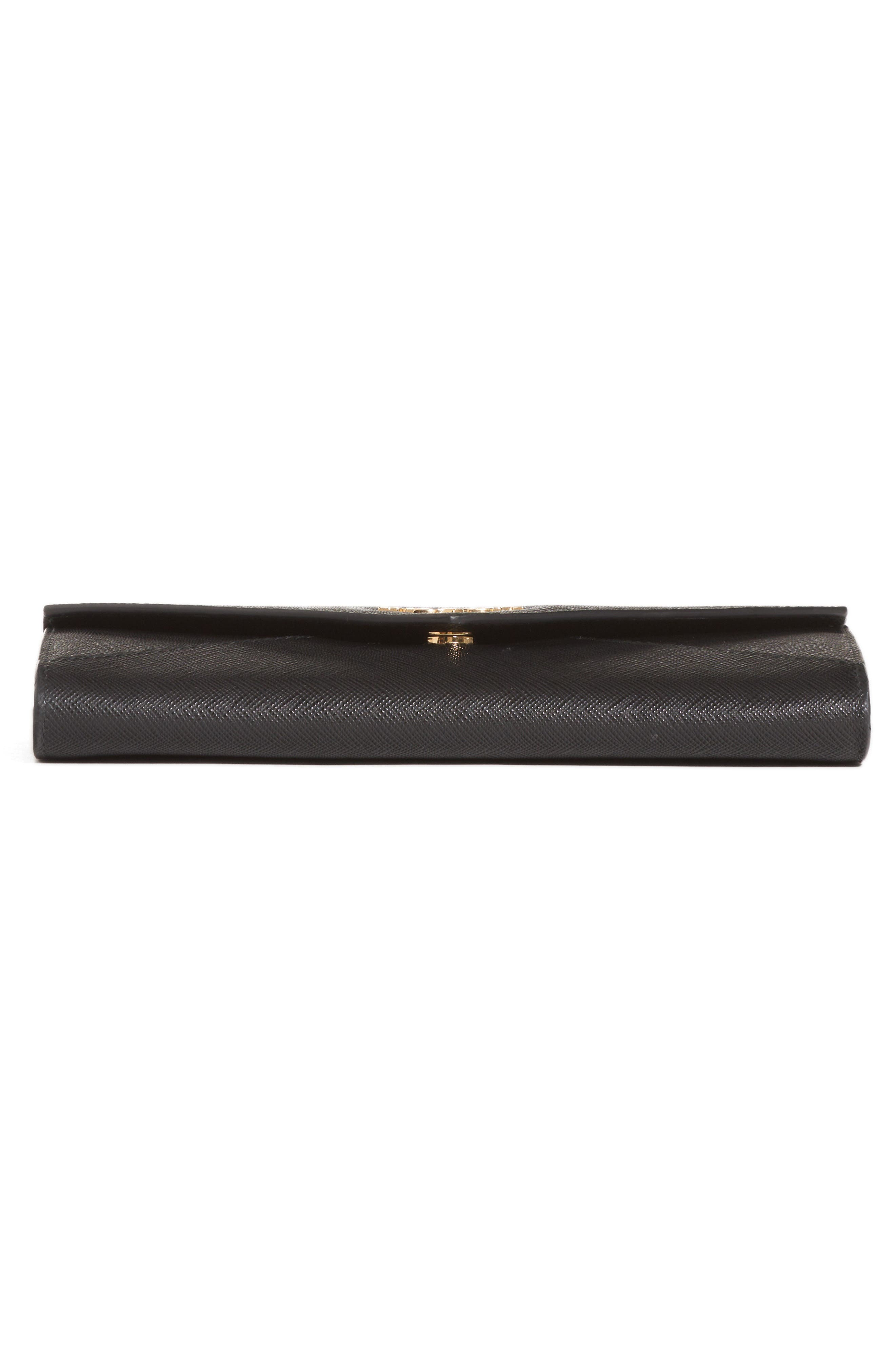 Saffiano Leather Envelope Wristlet,                             Alternate thumbnail 6, color,                             001