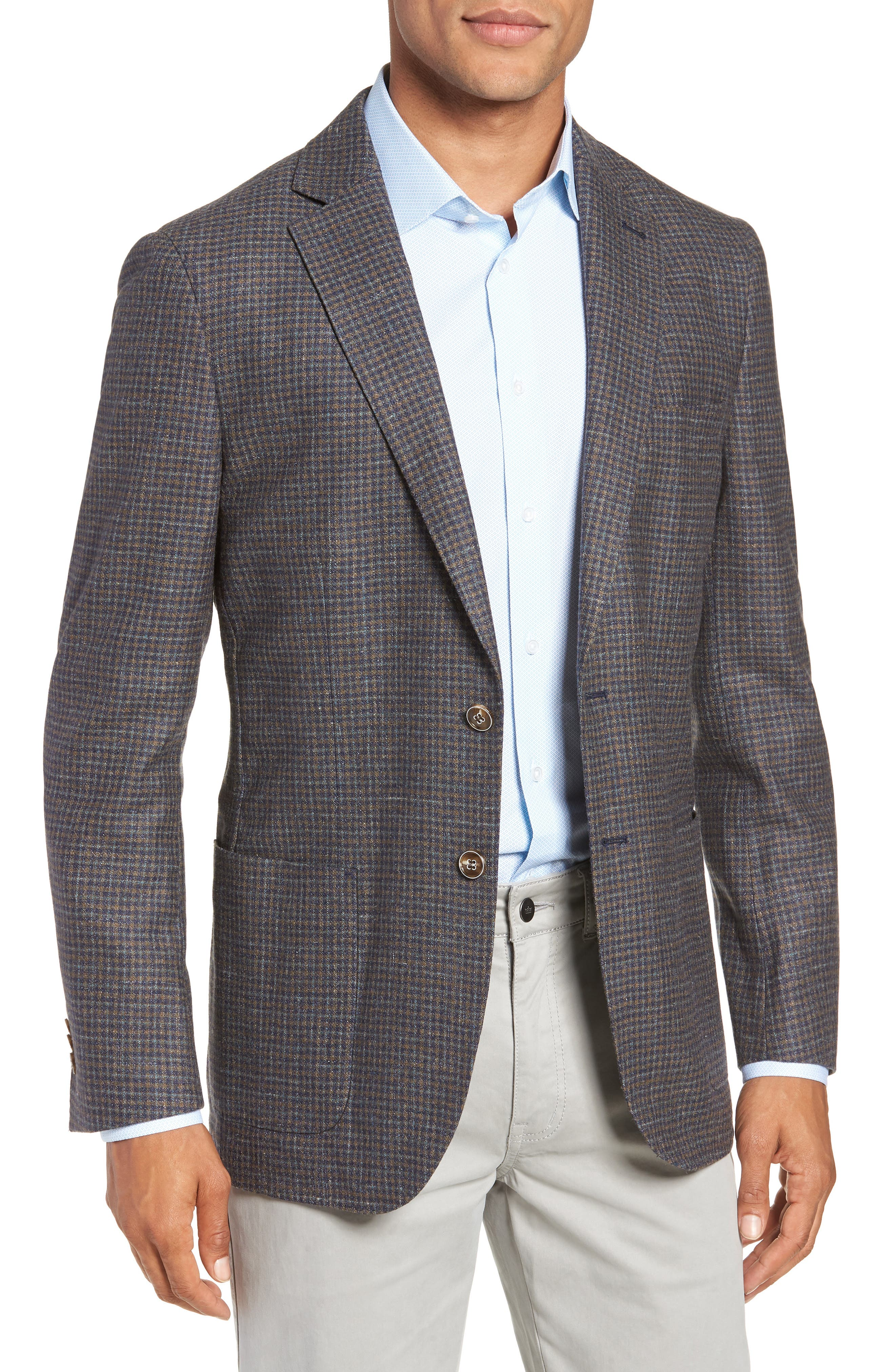 Crown Soft Check Regular Fit Sport Coat,                             Main thumbnail 1, color,                             YELLOW