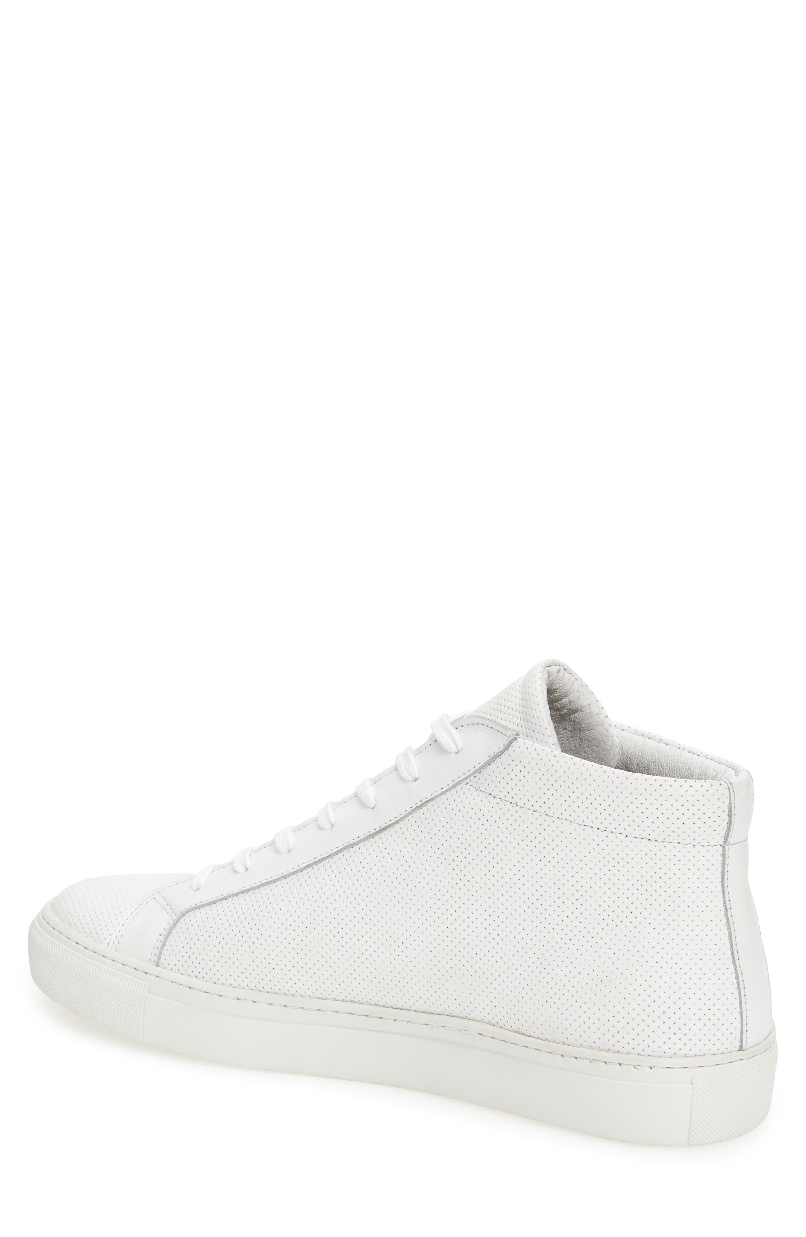 Deacon Mid Sneaker,                             Alternate thumbnail 2, color,                             WHITE PERFORATED LEATHER
