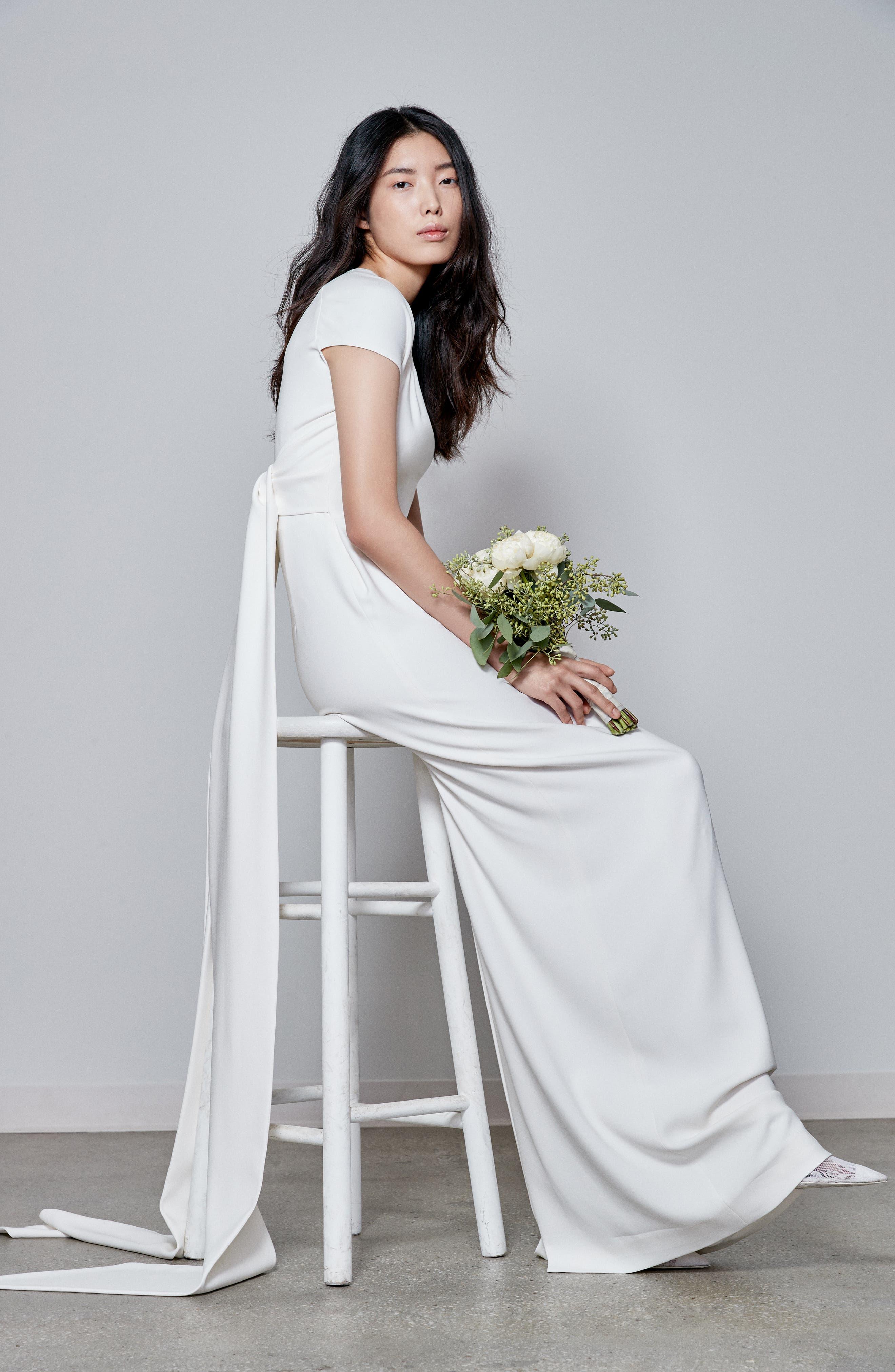 F18 Rose Cap Sleeve Wedding Dress,                             Alternate thumbnail 4, color,                             PURE WHITE