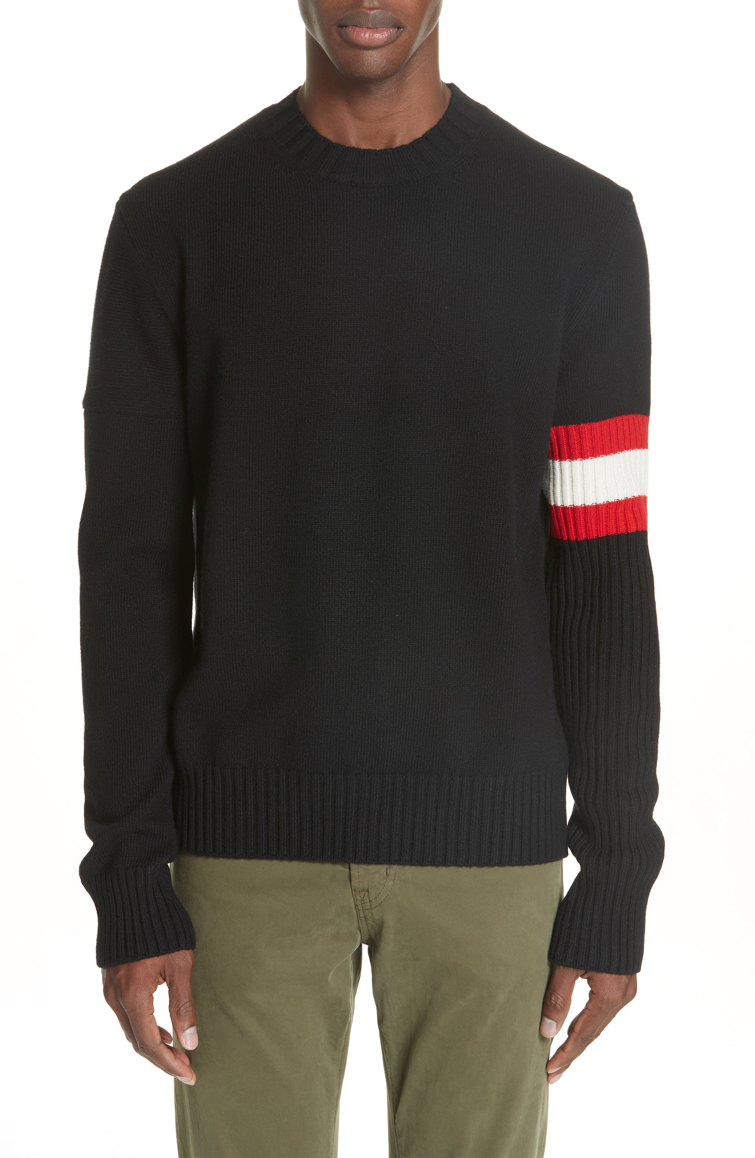 CALVIN KLEIN 205W39NYC,                             Cashmere Stripe Sleeve Sweater,                             Main thumbnail 1, color,                             001