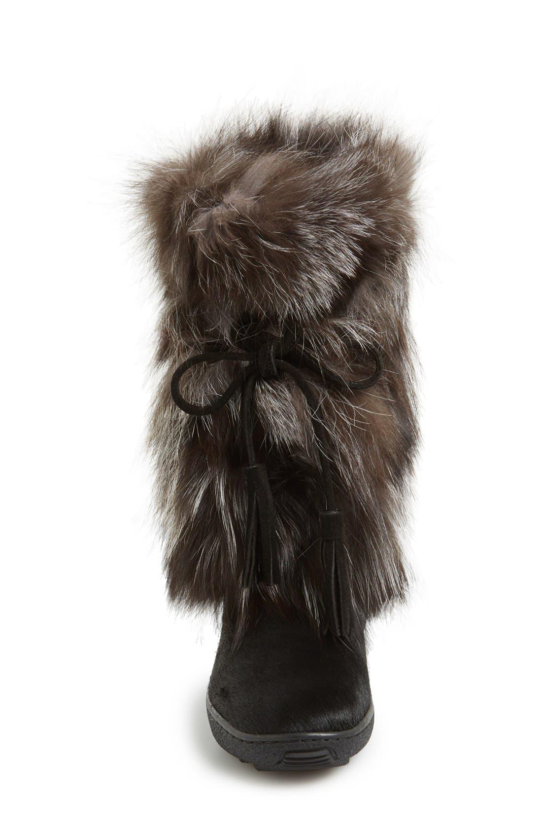 'Fox Trot' Genuine Fox Fur & Calf Hair Boot,                             Alternate thumbnail 3, color,                             001