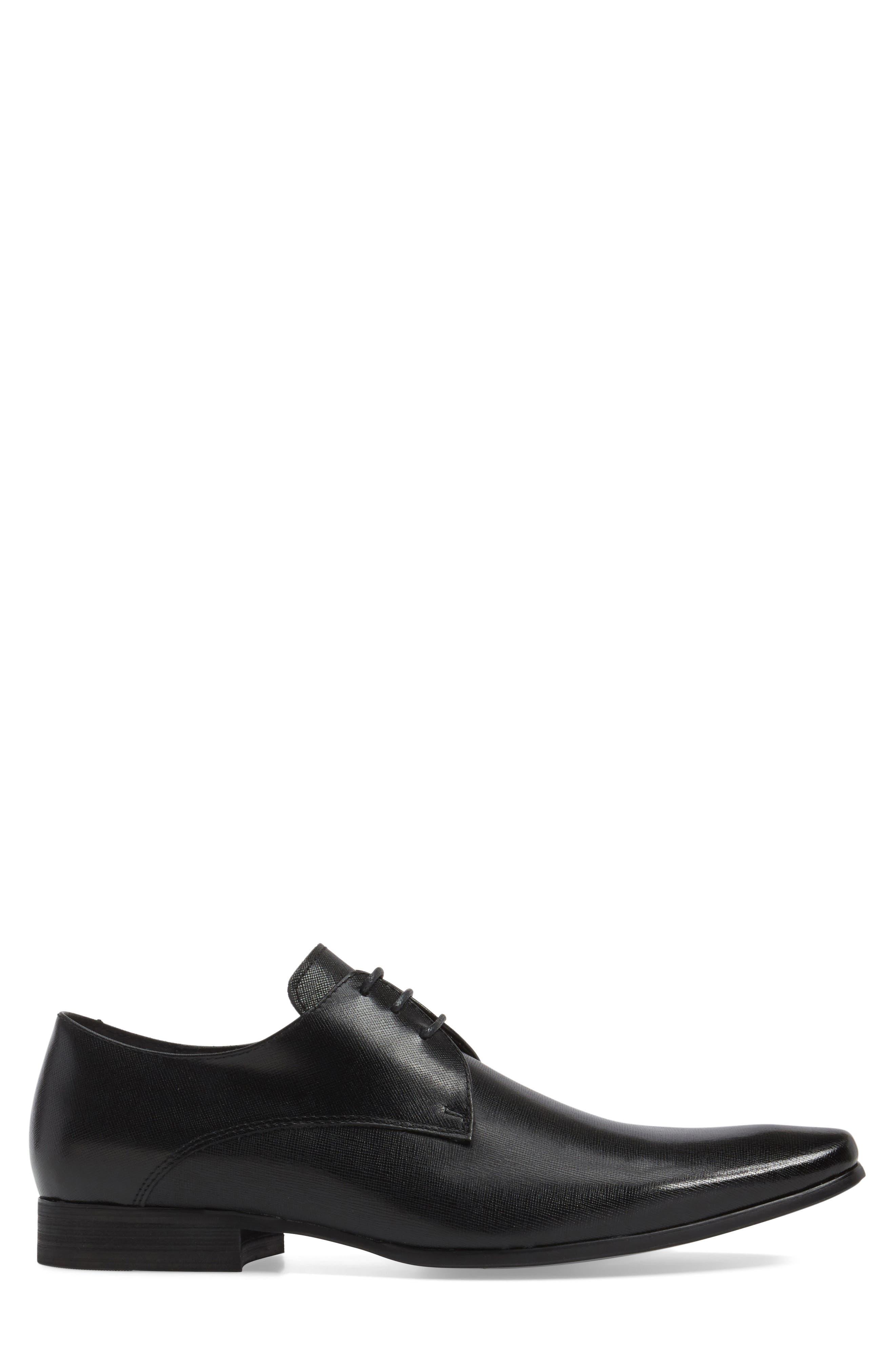 Needle Plain Toe Derby,                             Alternate thumbnail 3, color,                             BLACK