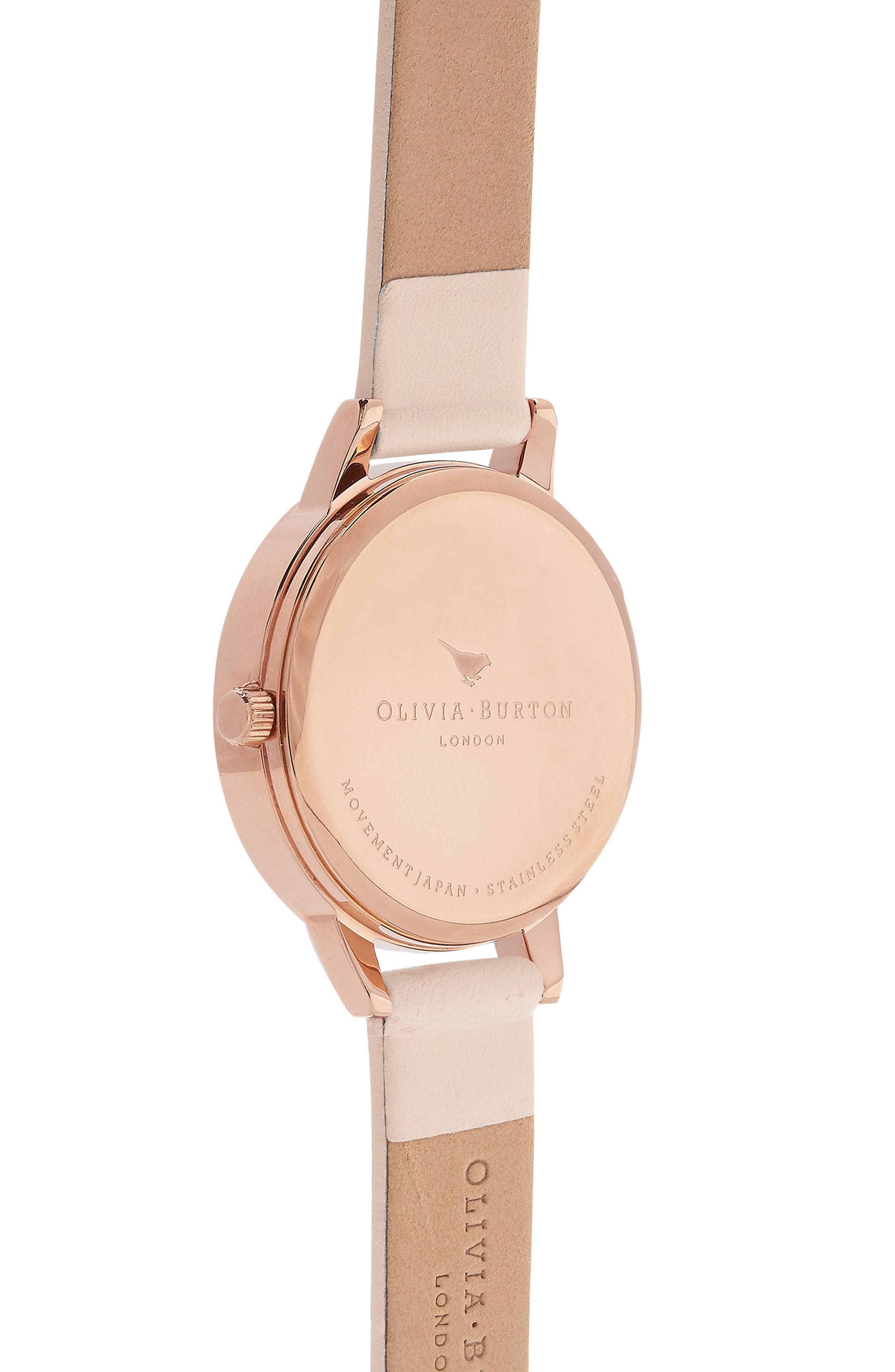 Midi Dial Leather Strap Watch, 30mm,                             Alternate thumbnail 2, color,                             NUDE PEACH/ WHITE/ ROSE GOLD