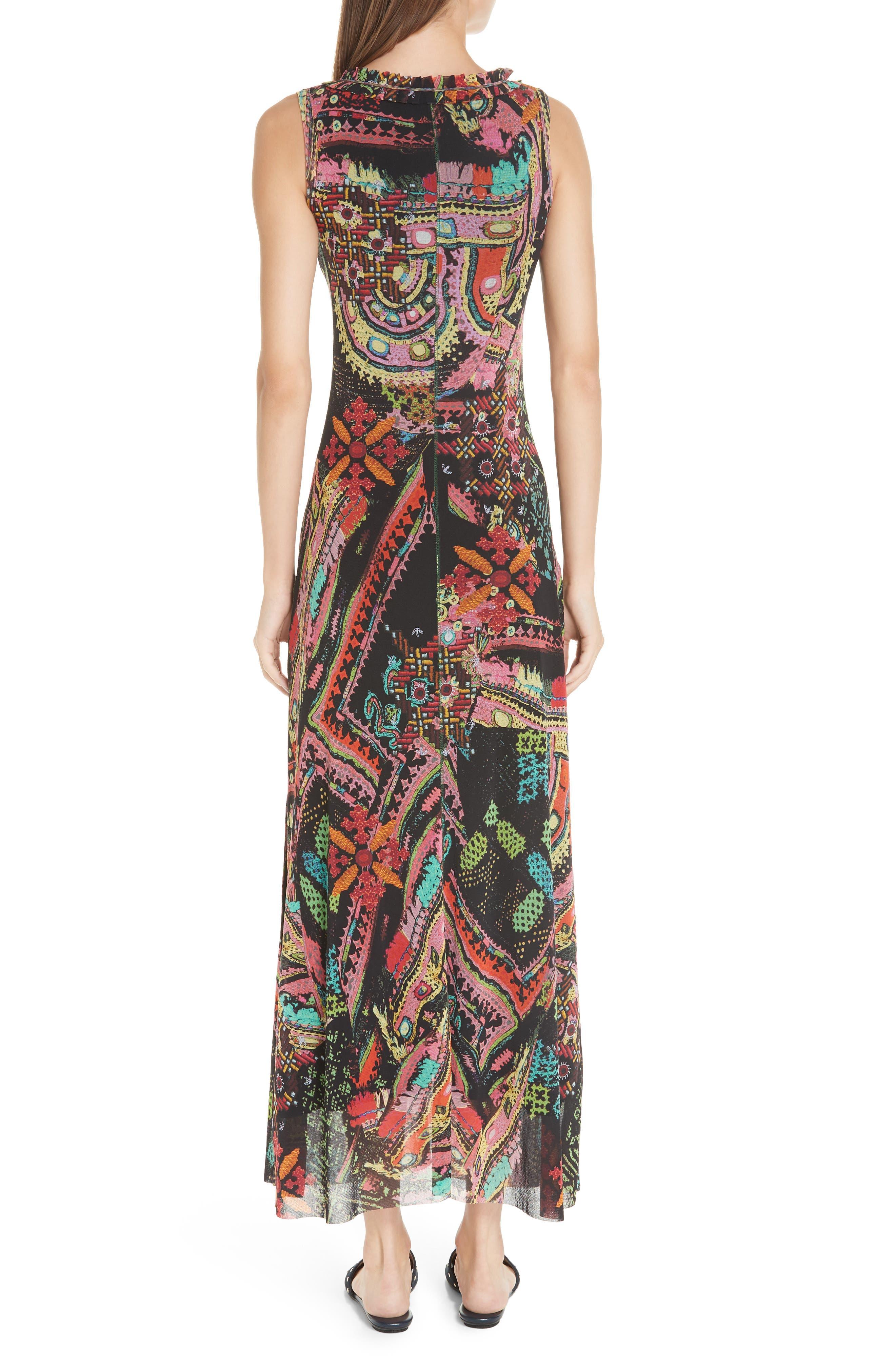 Print Tulle Maxi Dress,                             Alternate thumbnail 2, color,                             NERO