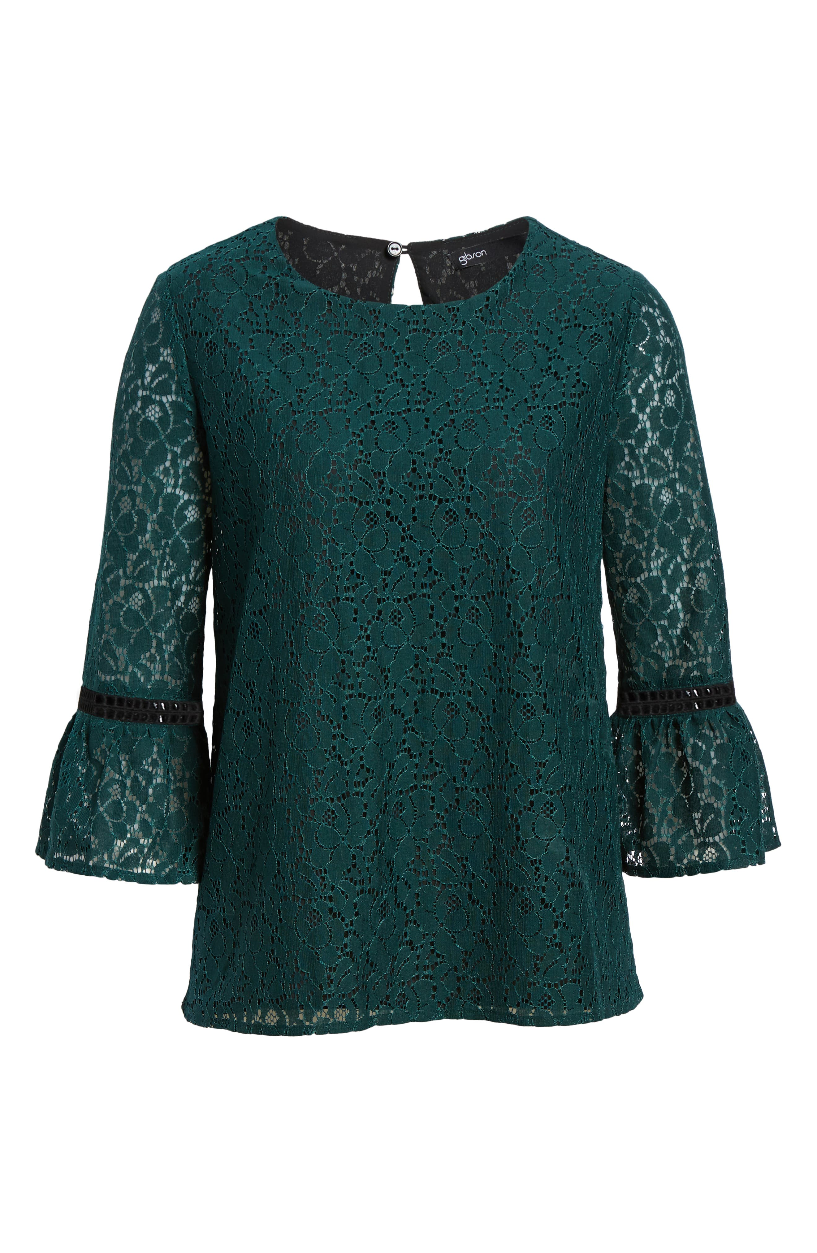 x Glam Squad Erin Allover Lace Bell Sleeve Top,                             Alternate thumbnail 7, color,                             GREEN