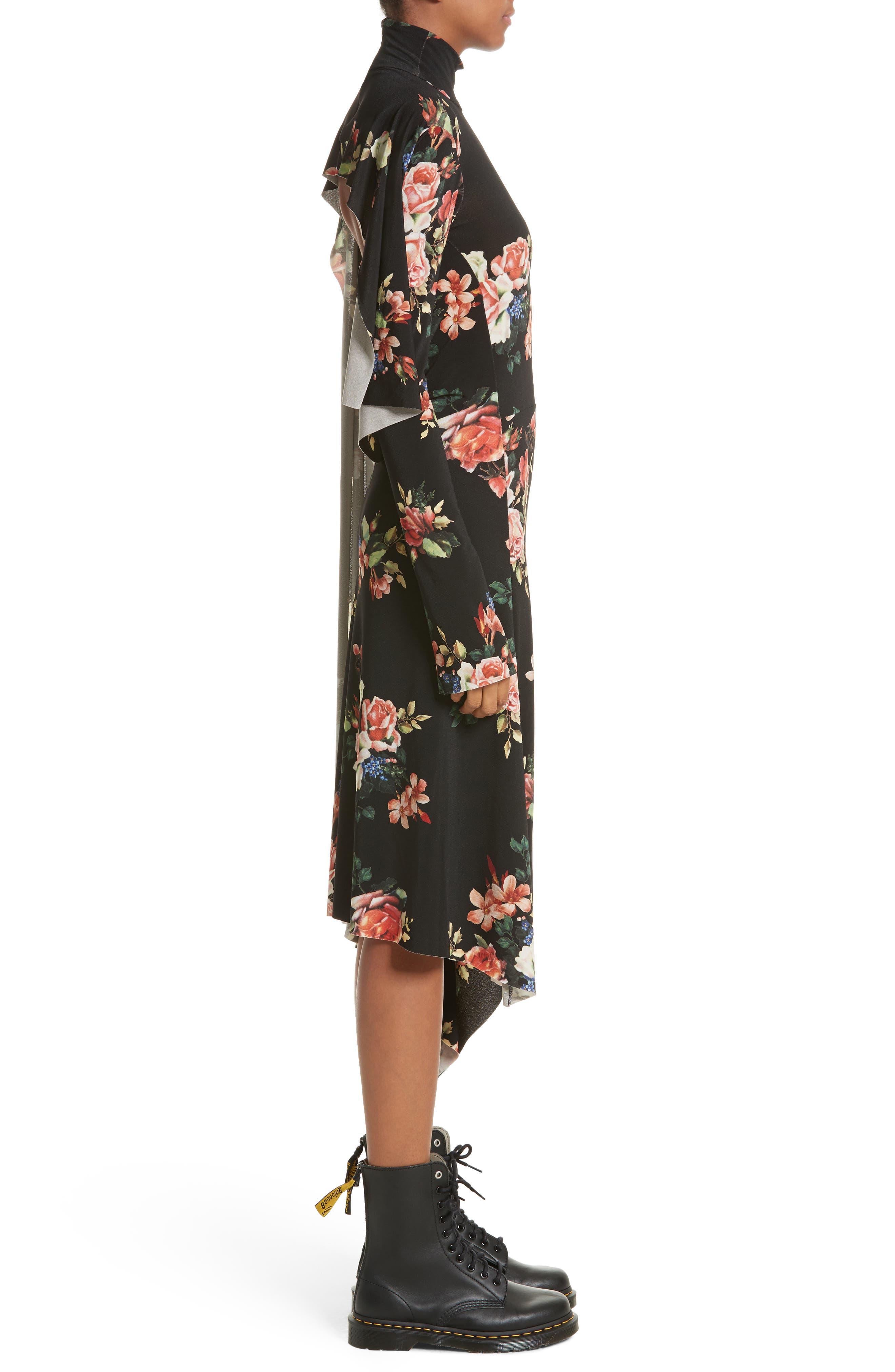 Drape Panel Floral Dress,                             Alternate thumbnail 3, color,