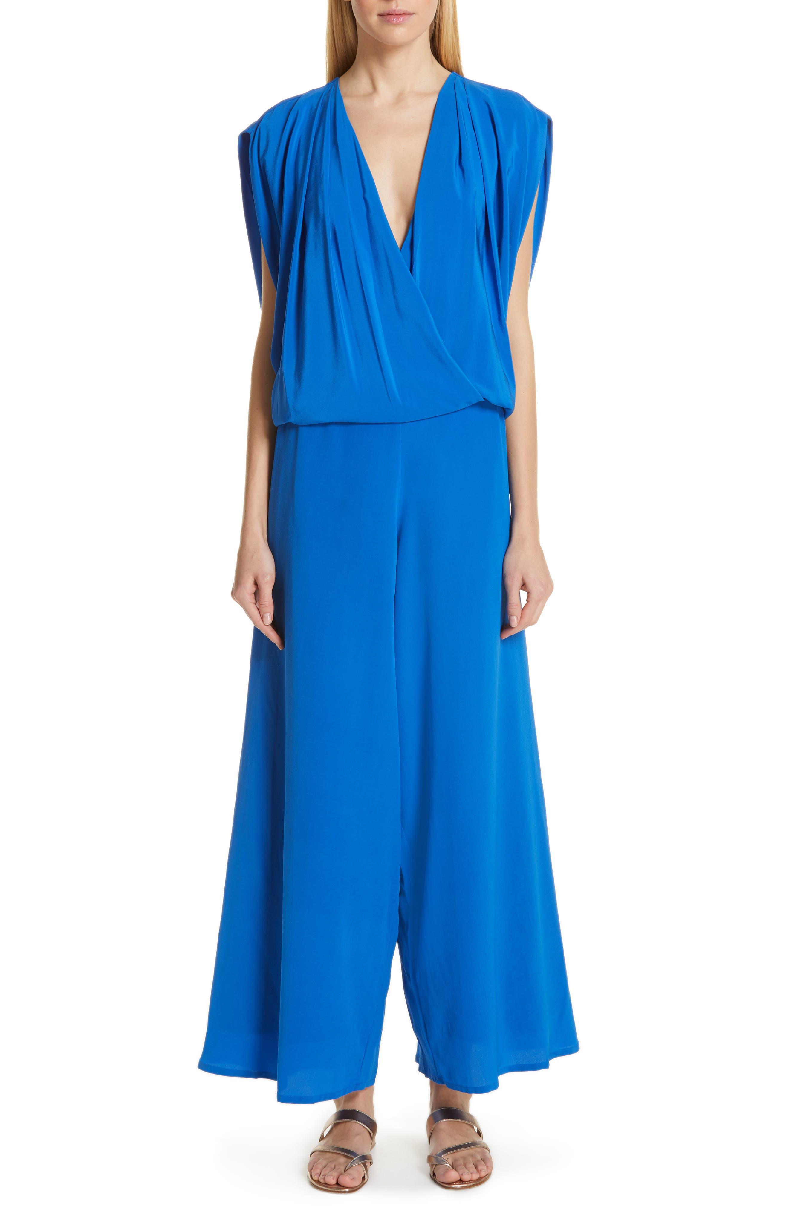 KALITA Ephyra Silk Jumpsuit in Azure
