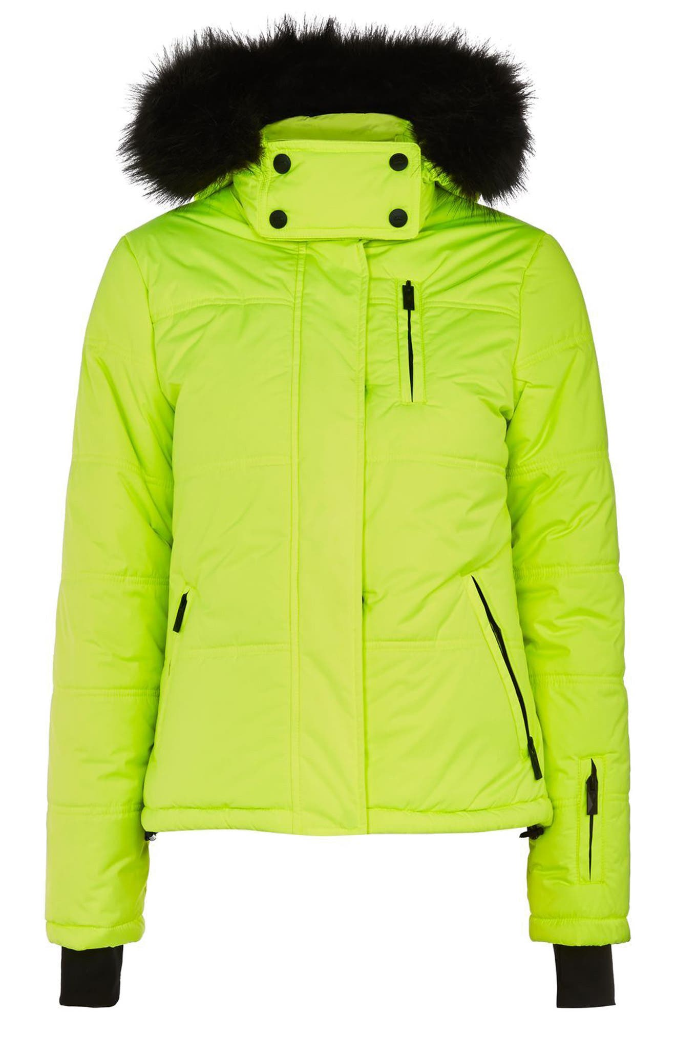 SNO Rio Faux Fur Hood Neon Puffer Jacket,                             Alternate thumbnail 8, color,
