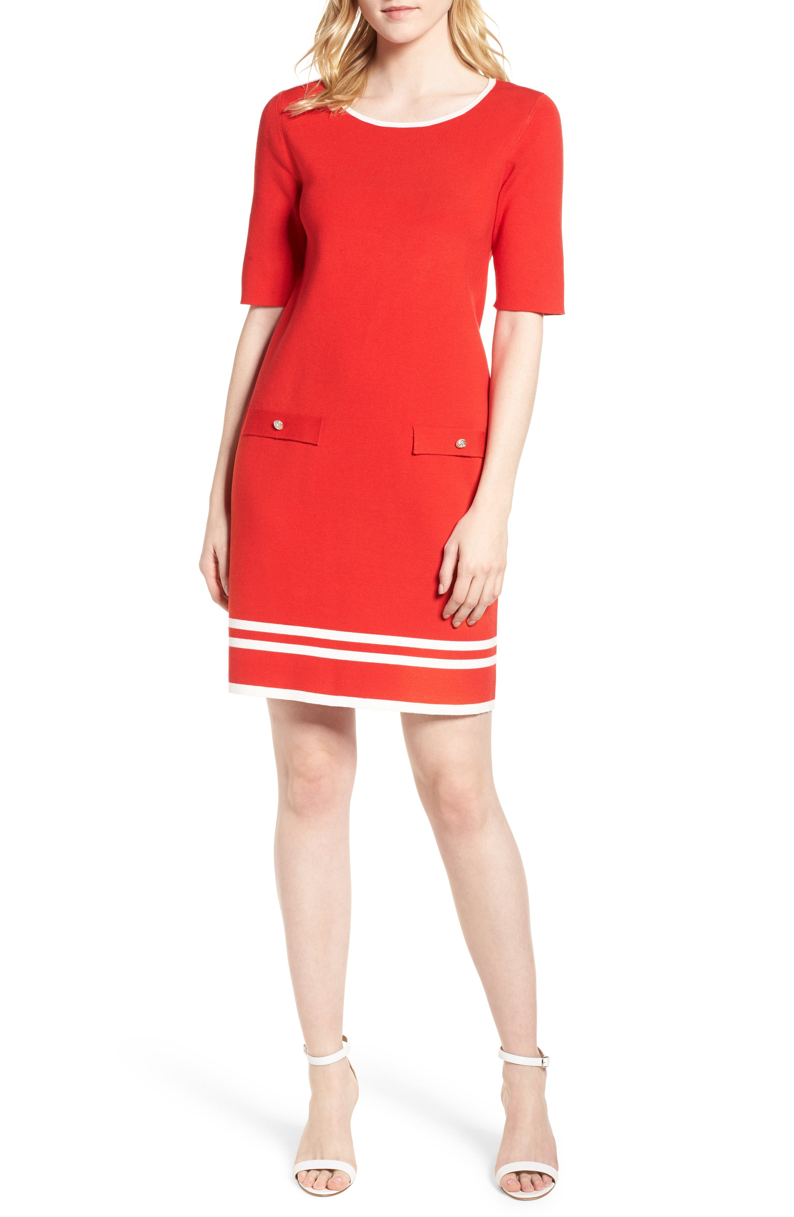 Ann Klein New York Stripe Border Knit Sheath Dress,                             Alternate thumbnail 11, color,