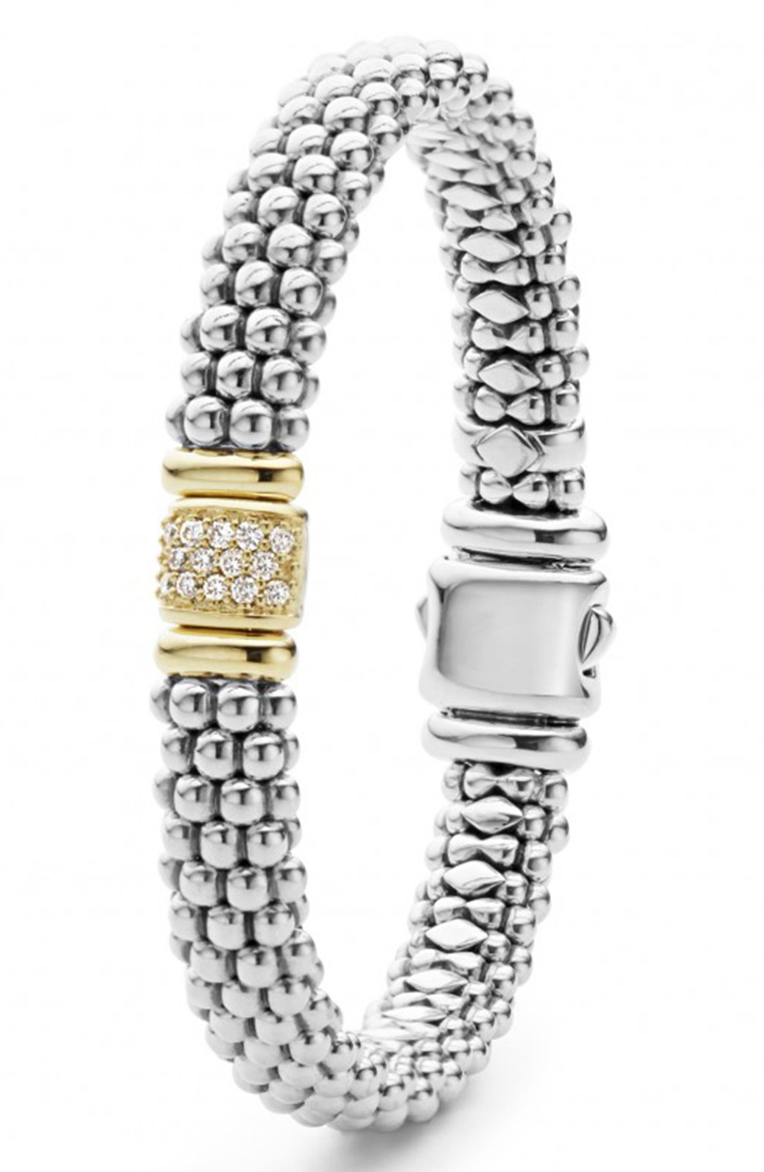 Caviar & Diamond Bracelet,                             Alternate thumbnail 3, color,                             STERLING SILVER/ GOLD