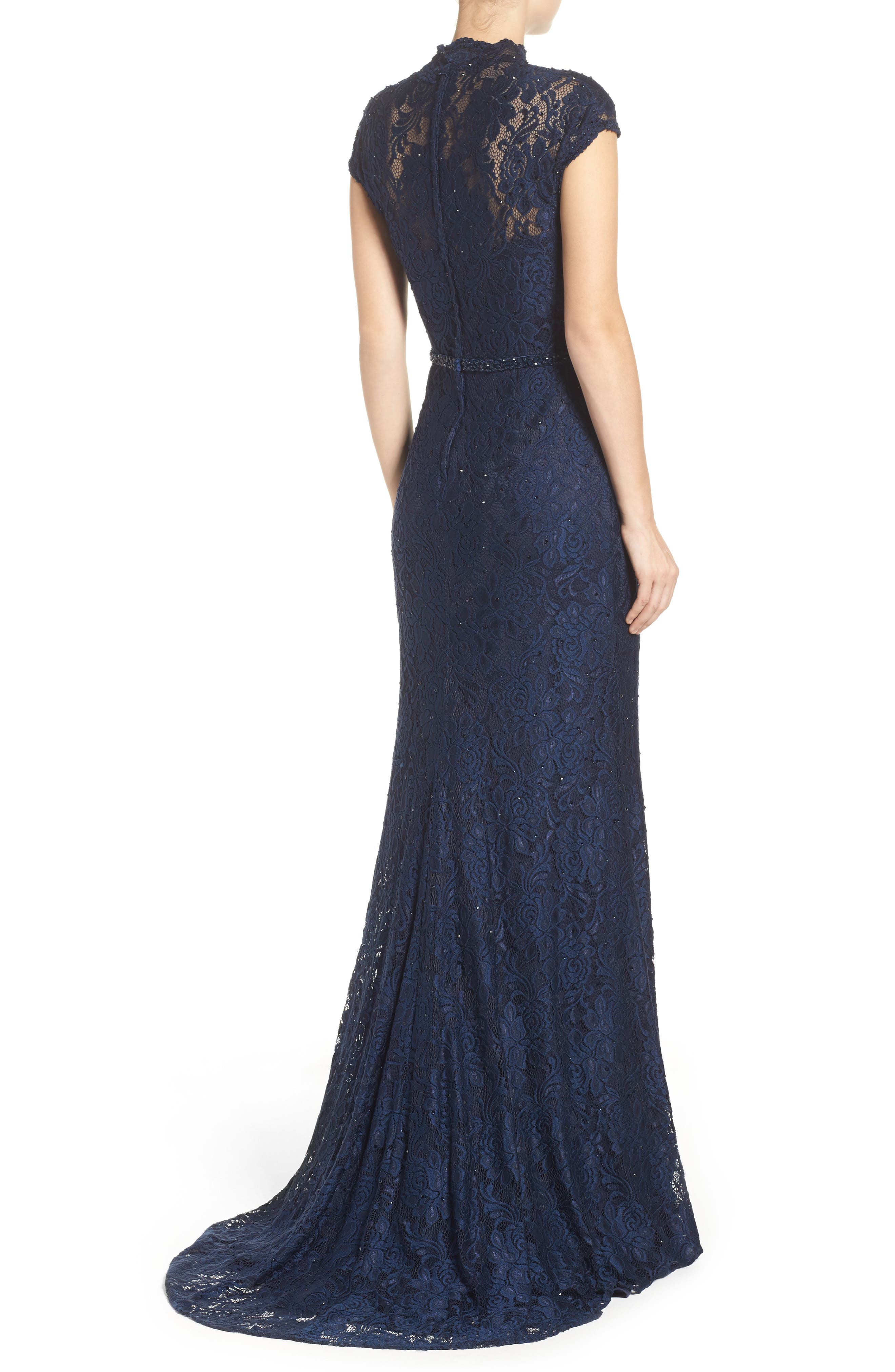 Embellished Lace Gown,                             Alternate thumbnail 3, color,                             NAVY
