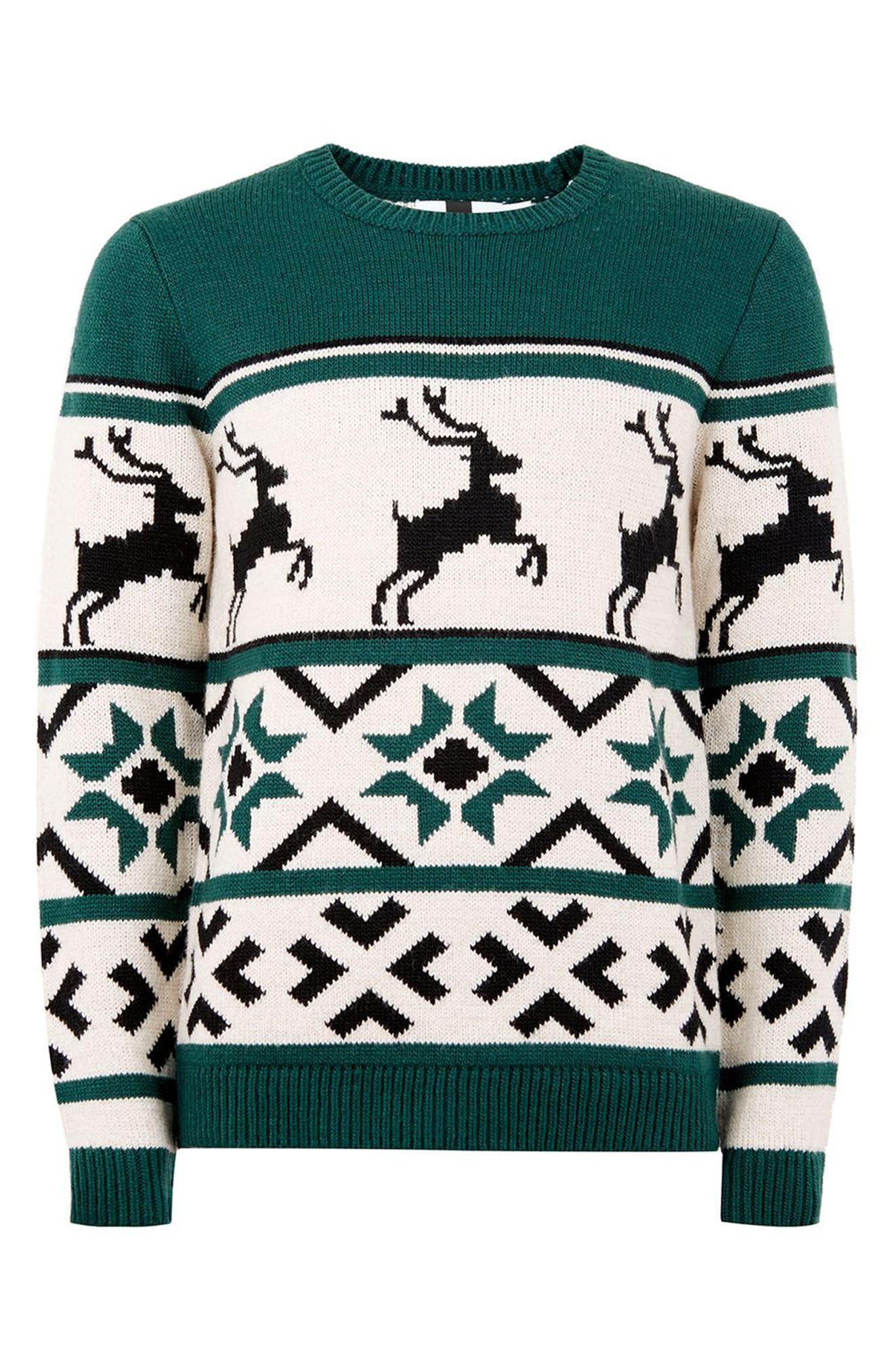 Fair Isle Reindeer Sweater,                             Alternate thumbnail 3, color,                             300