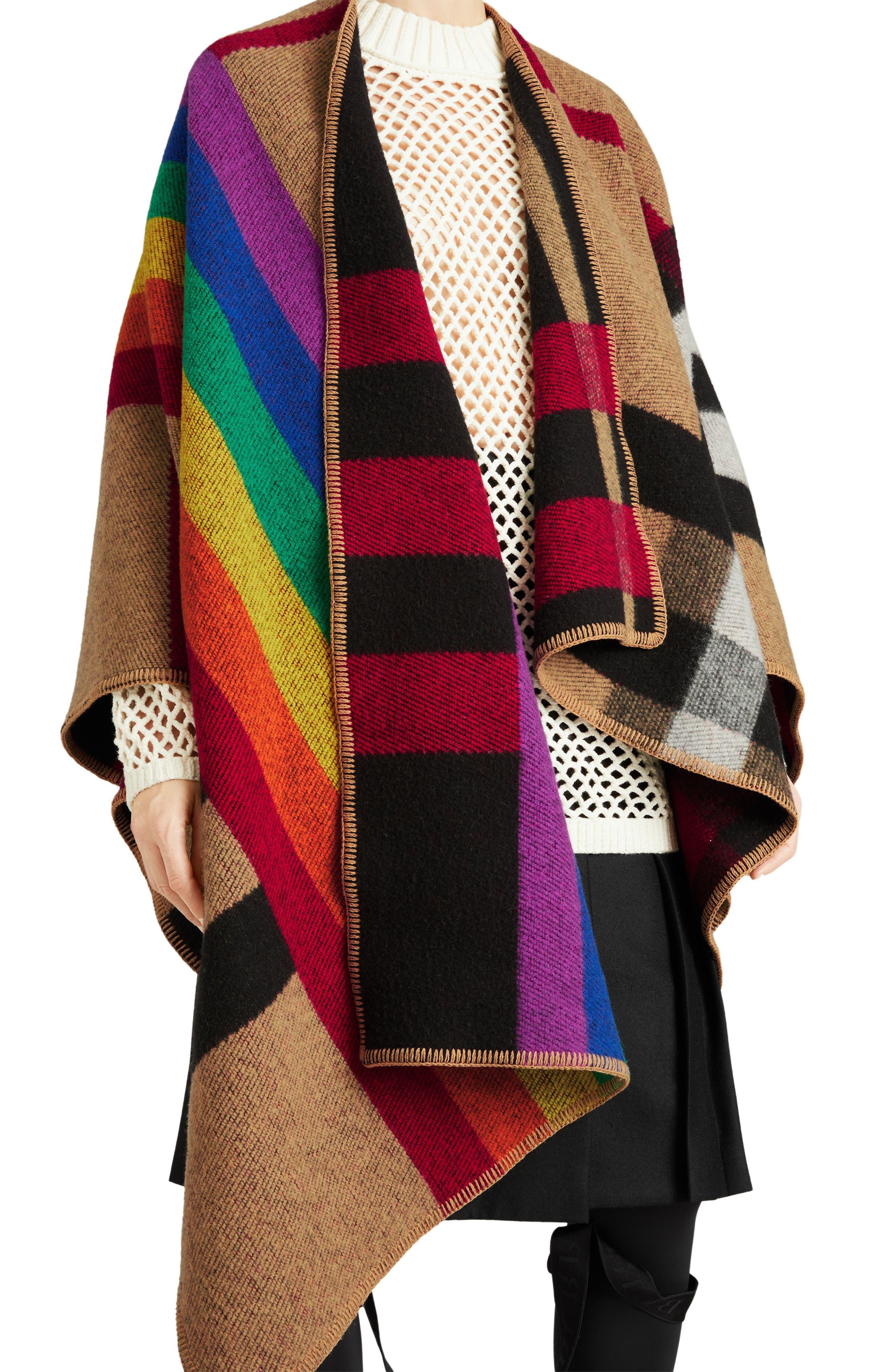 Rainbow Stripe Vintage Check Wool & Cashmere Cape, Main, color, 200