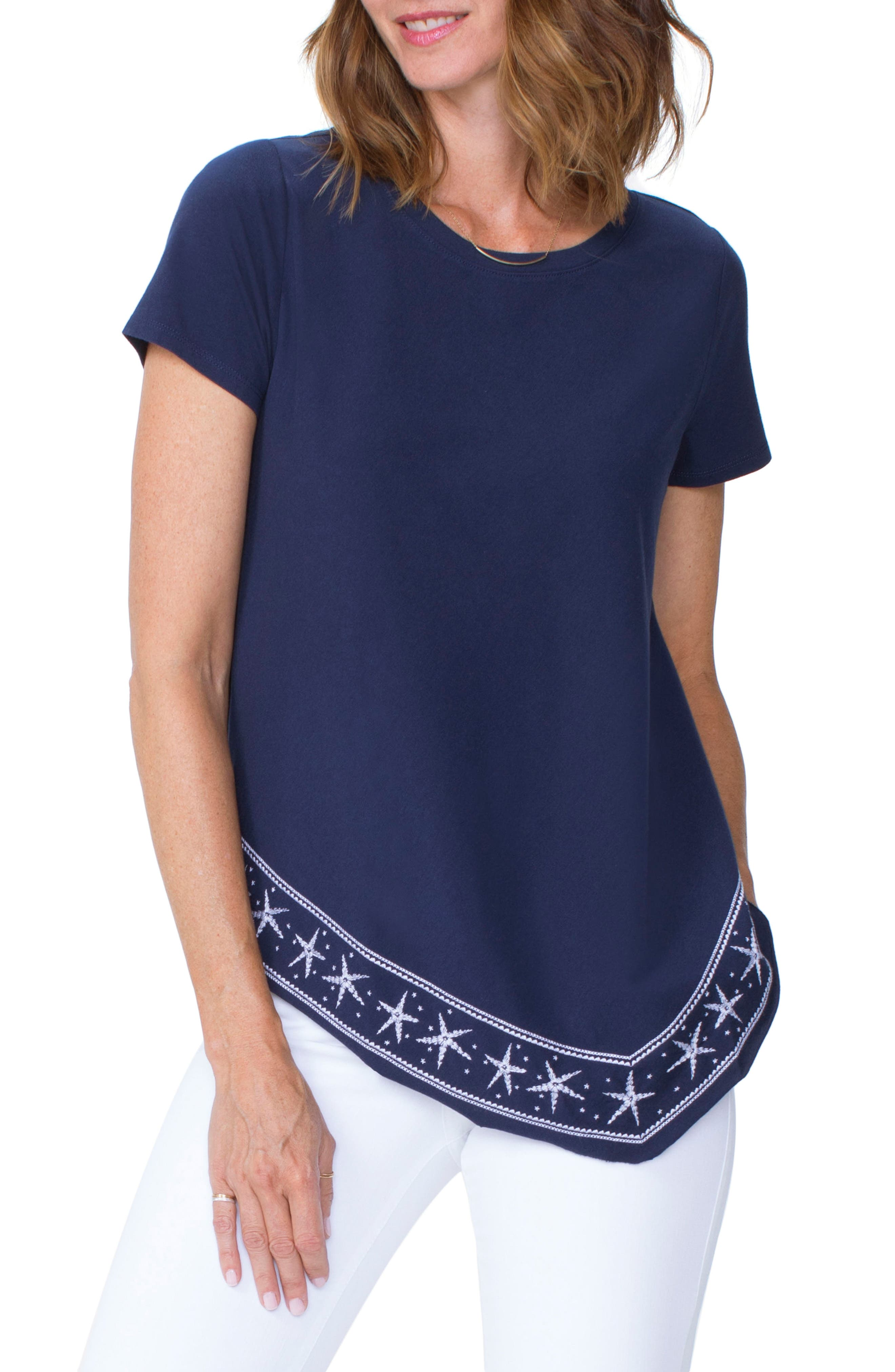 Embroidered Handkerchief Cotton Blend Top,                         Main,                         color, 401