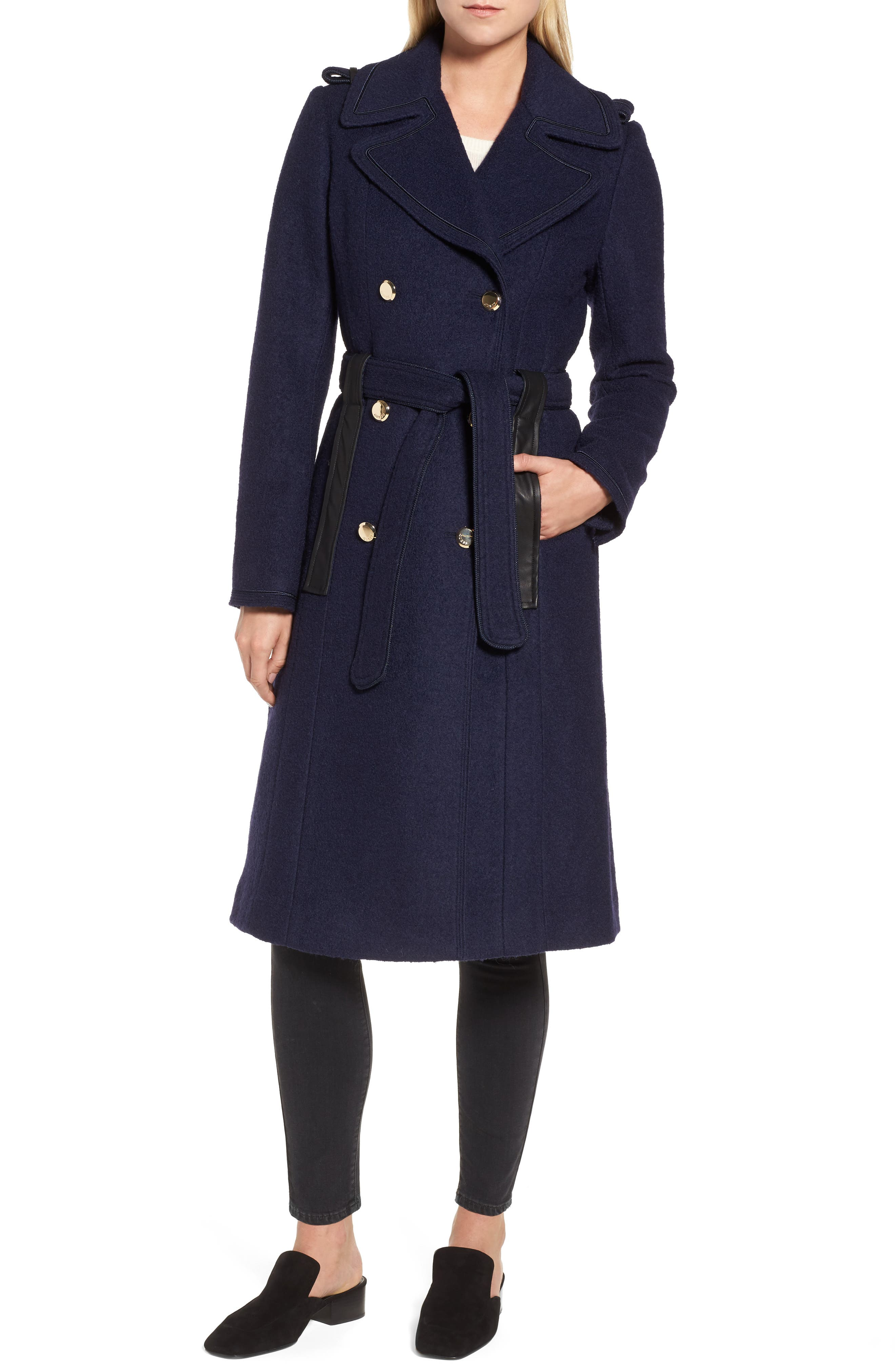 Boiled Wool Trench Coat, Main, color, 410