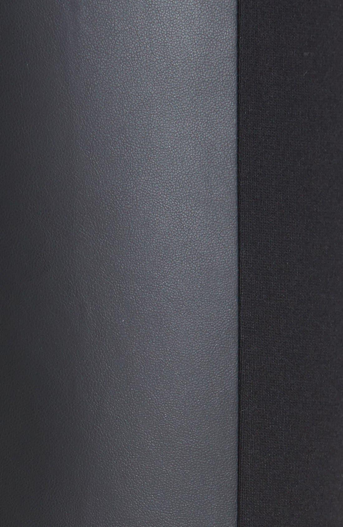 Faux Leather Trim Leggings,                             Alternate thumbnail 2, color,                             001