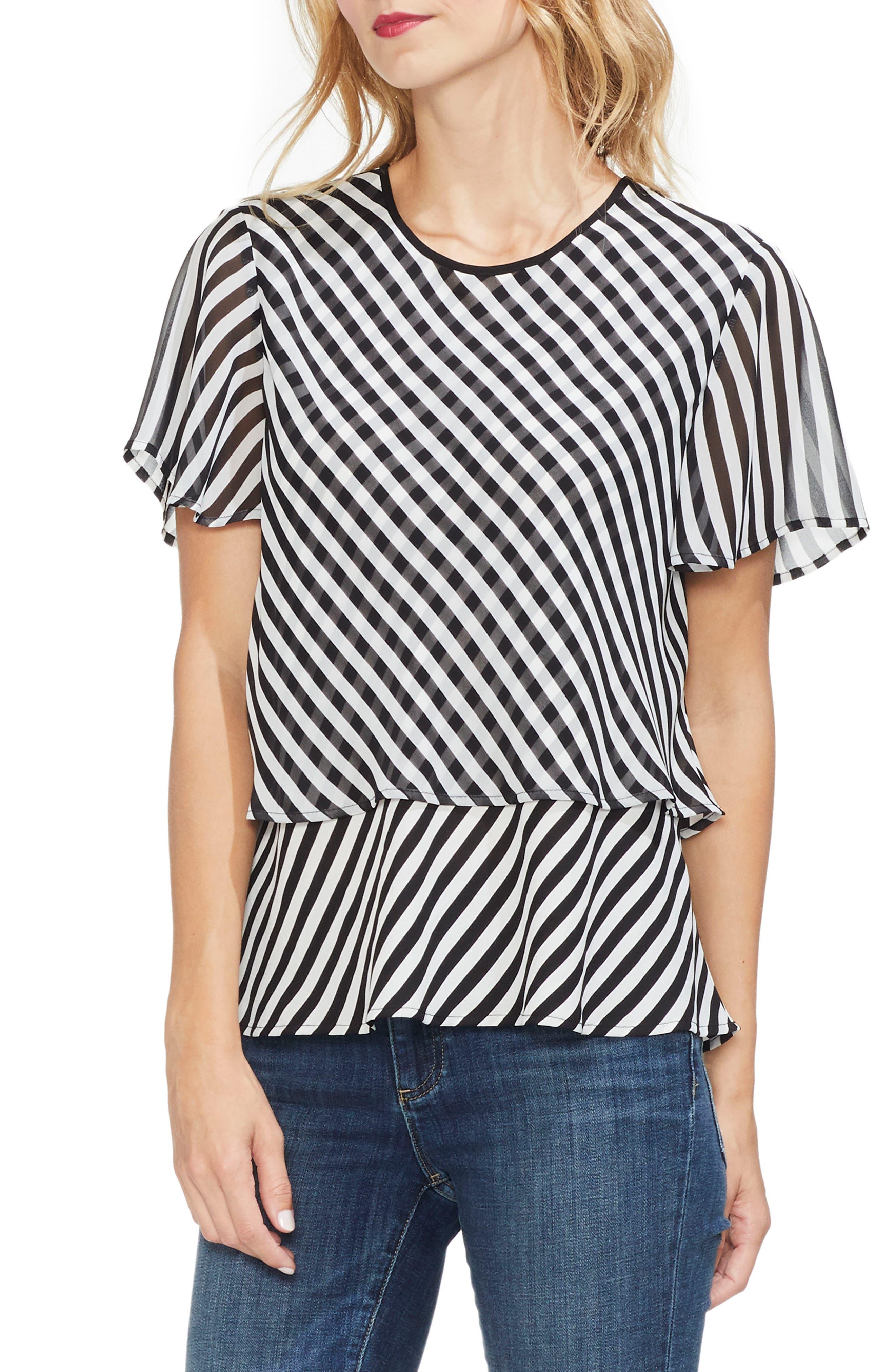 Stripe Layered Top, Main, color, RICH BLACK