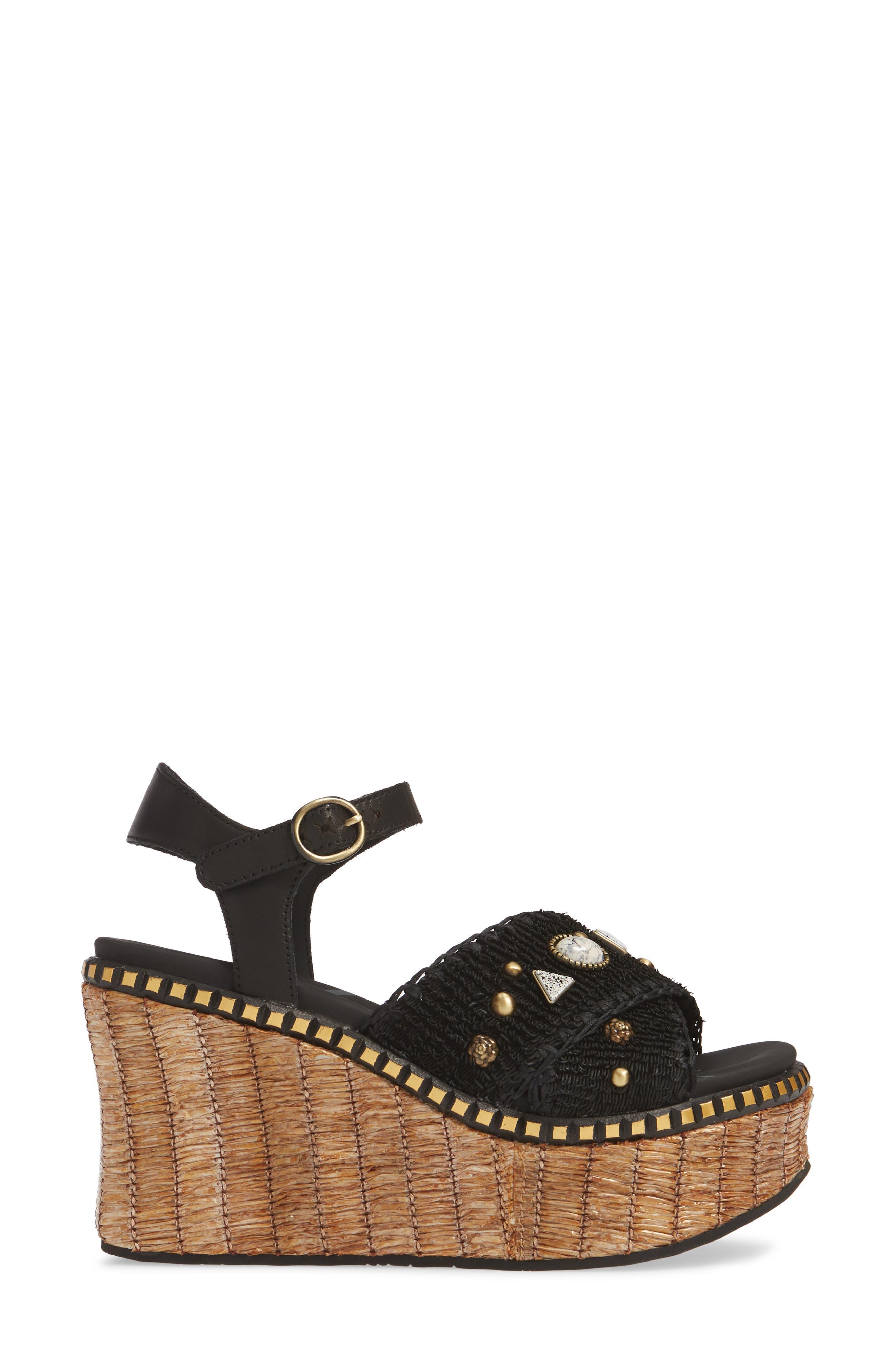 Cahoot Embellished Platform Wedge Sandal,                             Alternate thumbnail 3, color,                             BLACK LEATHER