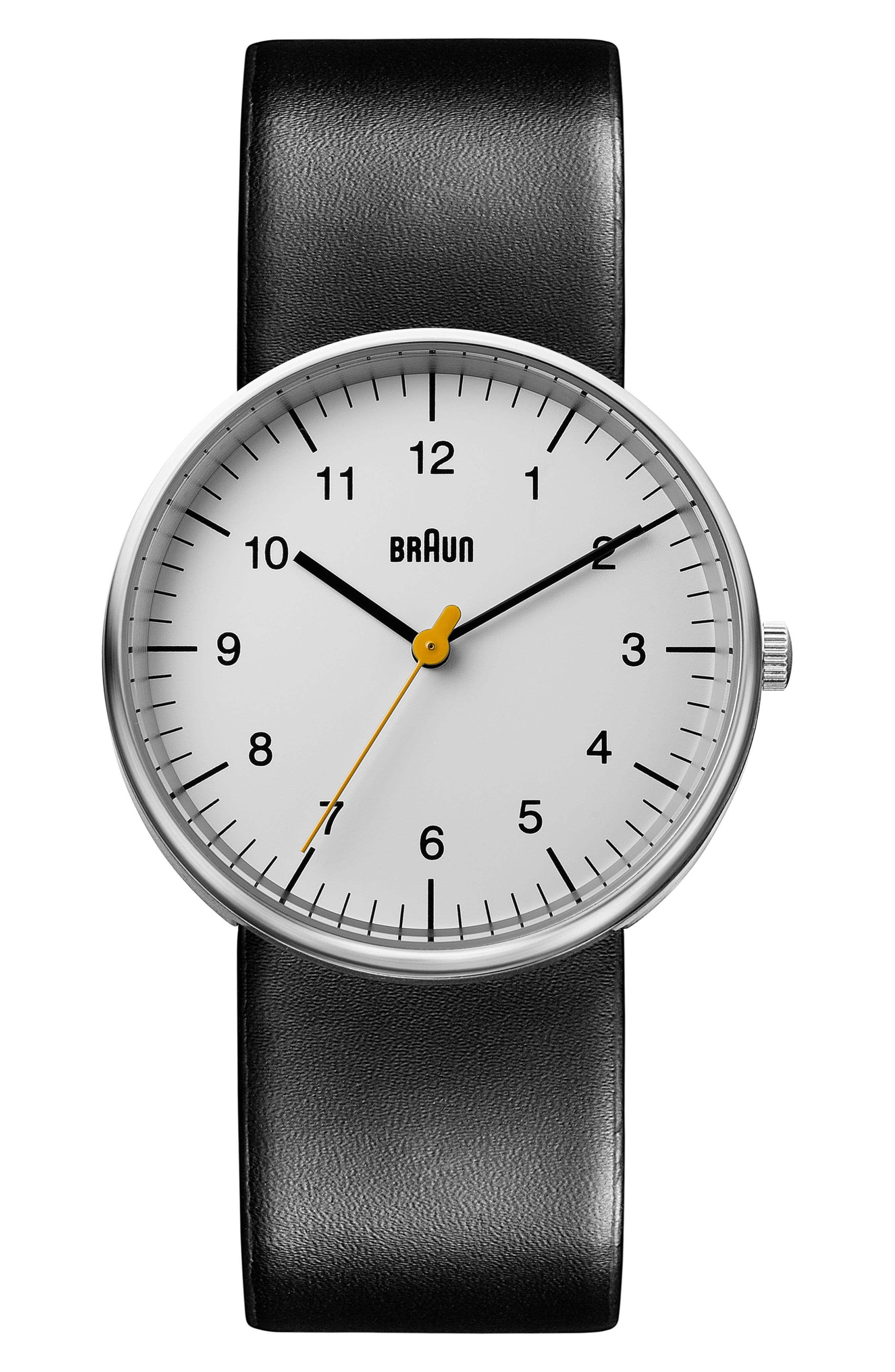 BRAUN 'Classic' Leather Strap Watch, 38Mm in Black/ White/ Silver