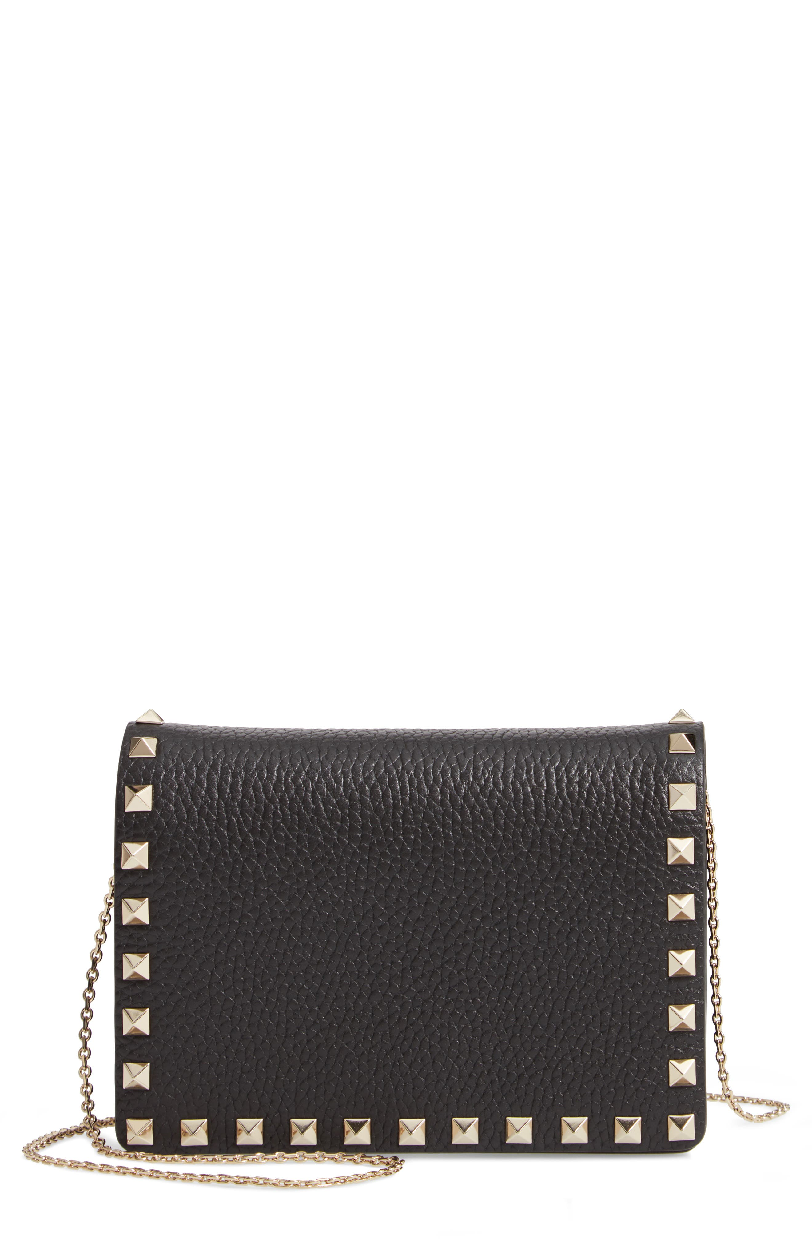 Rockstud Leather Pouch Wallet on a Chain,                             Main thumbnail 1, color,                             NERO