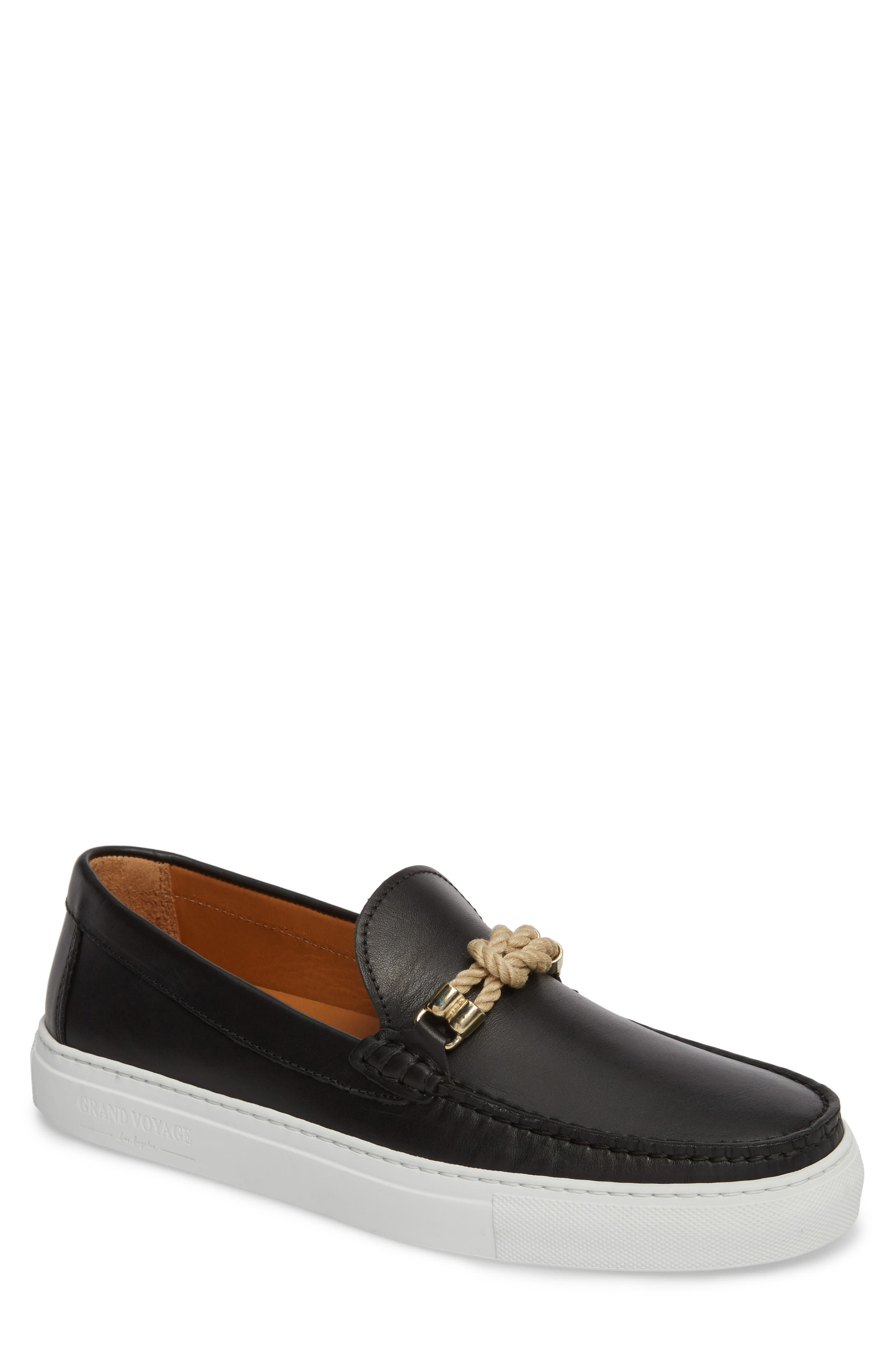 Bitton Square Knot Loafer,                         Main,                         color, BLACK LEATHER