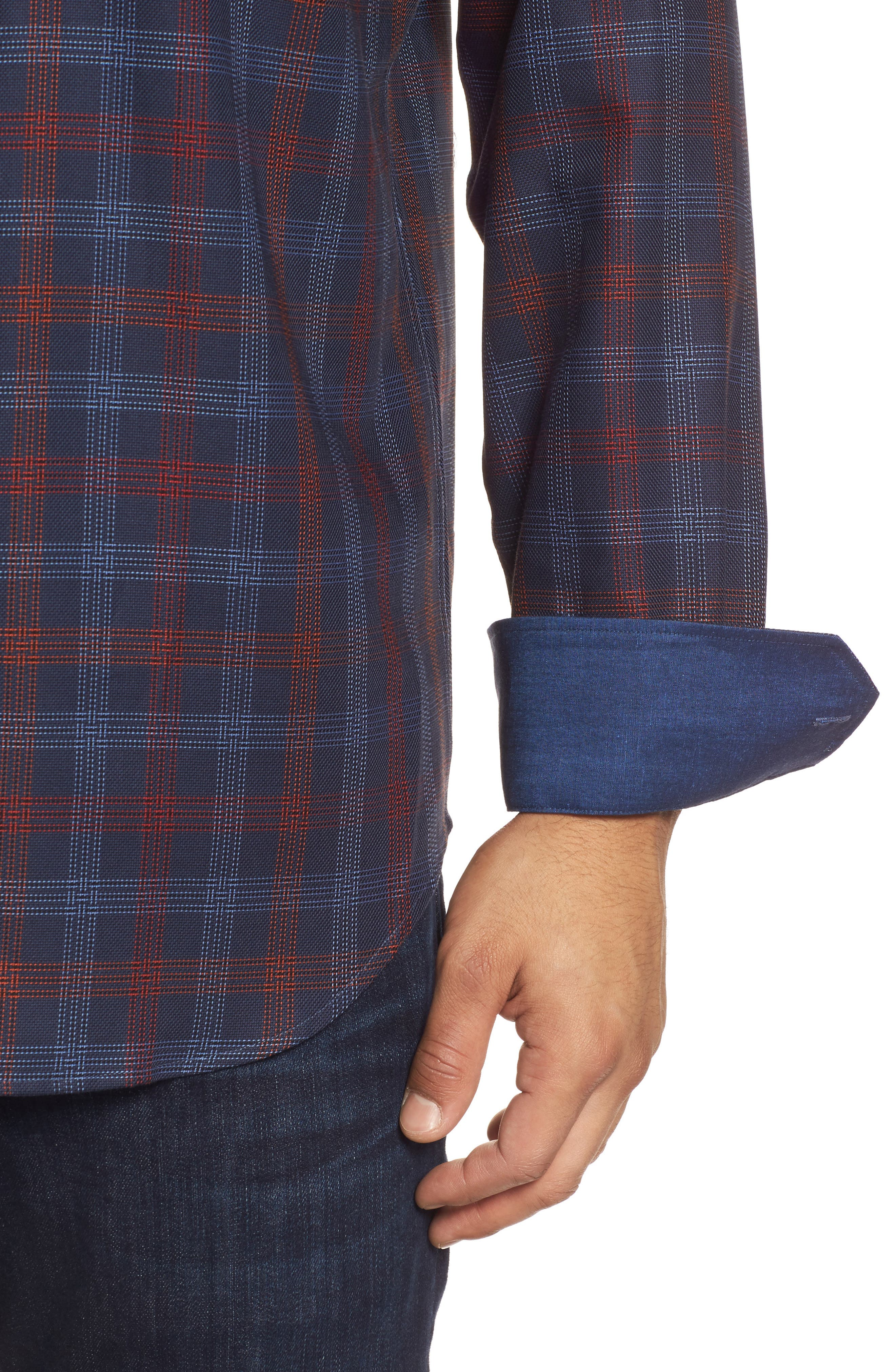 Classic Fit Pinstripe Check Sport Shirt,                             Alternate thumbnail 4, color,