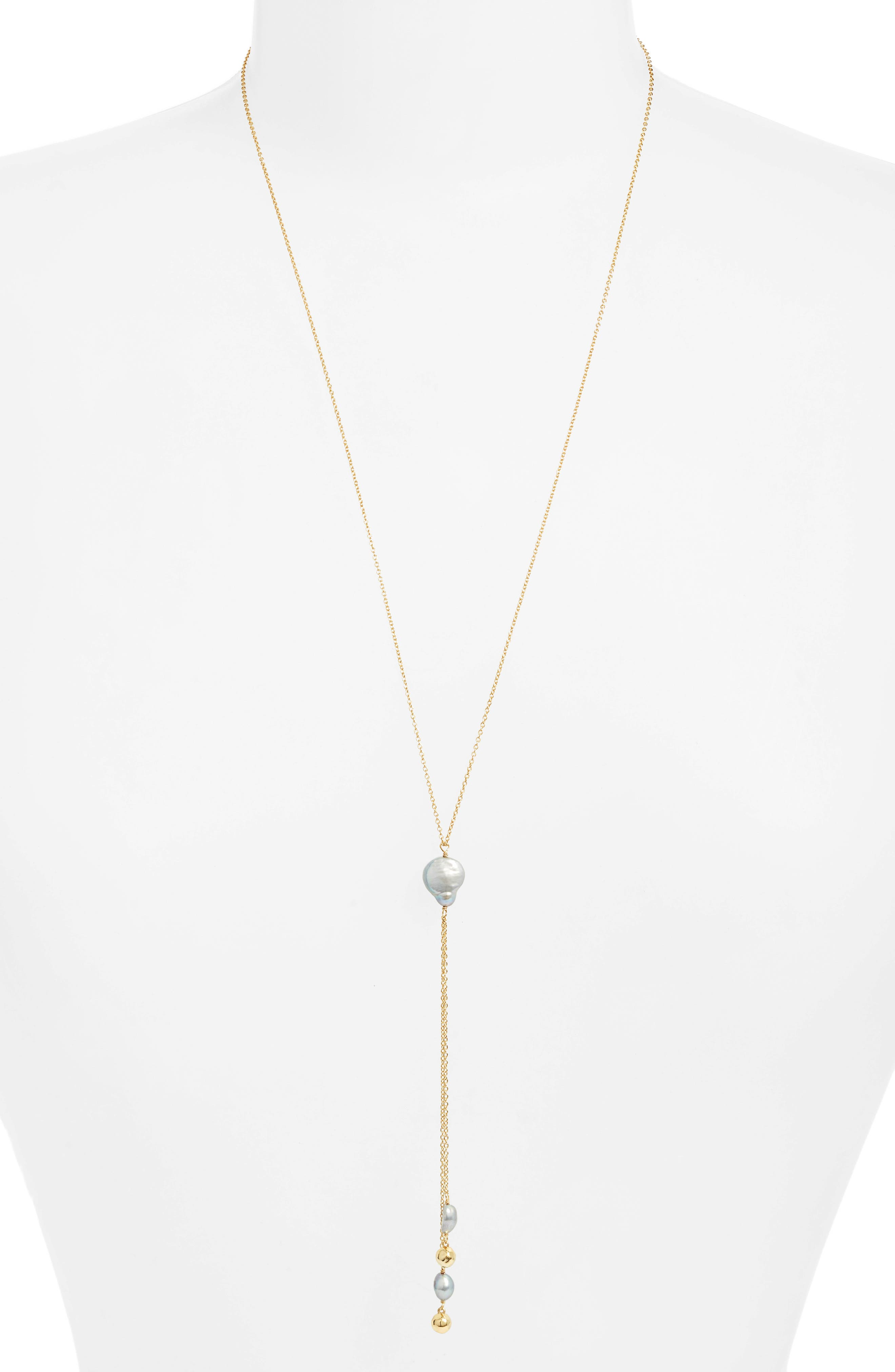 Vienna Freshwater Pearl Lariat Necklace,                         Main,                         color, 710
